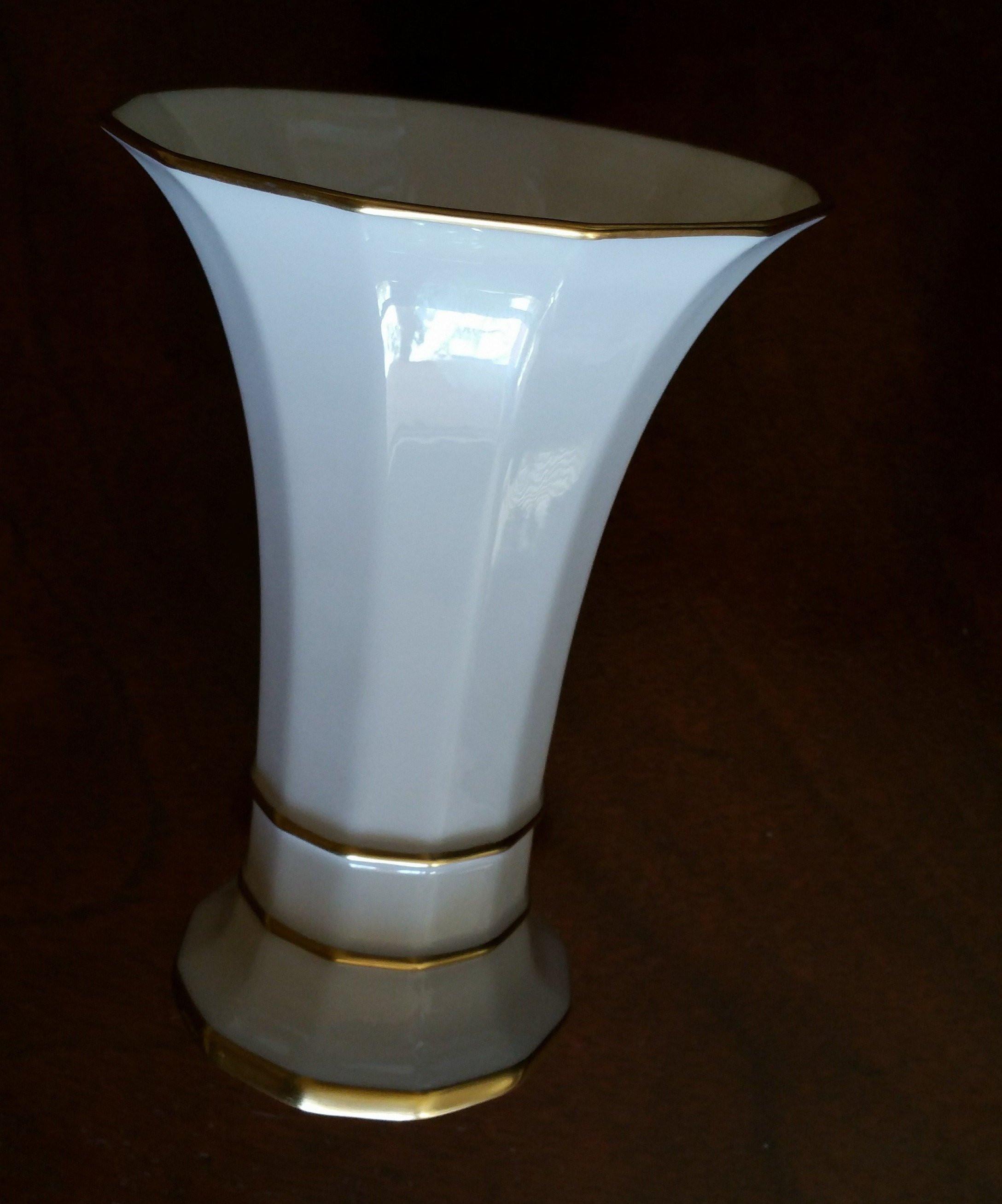 lenox rose vase gold trim of lenox porcelain vase in white gold r86 trim green mark etsy pertaining to image 0 image 1