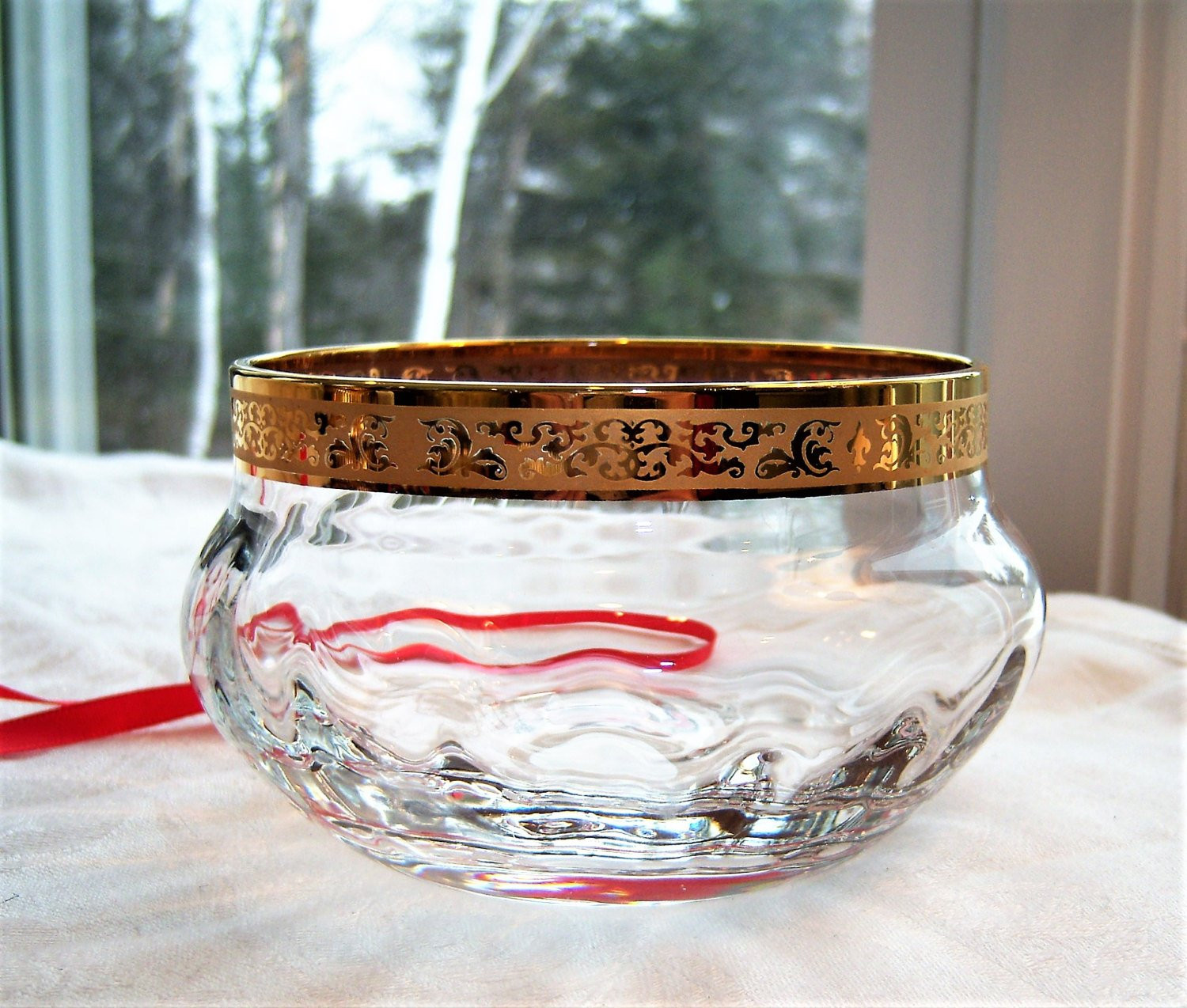 "lenox small crystal vase of vintage lenox crystal bowl wide gold band optic autumn with dŸ""Žzoom"