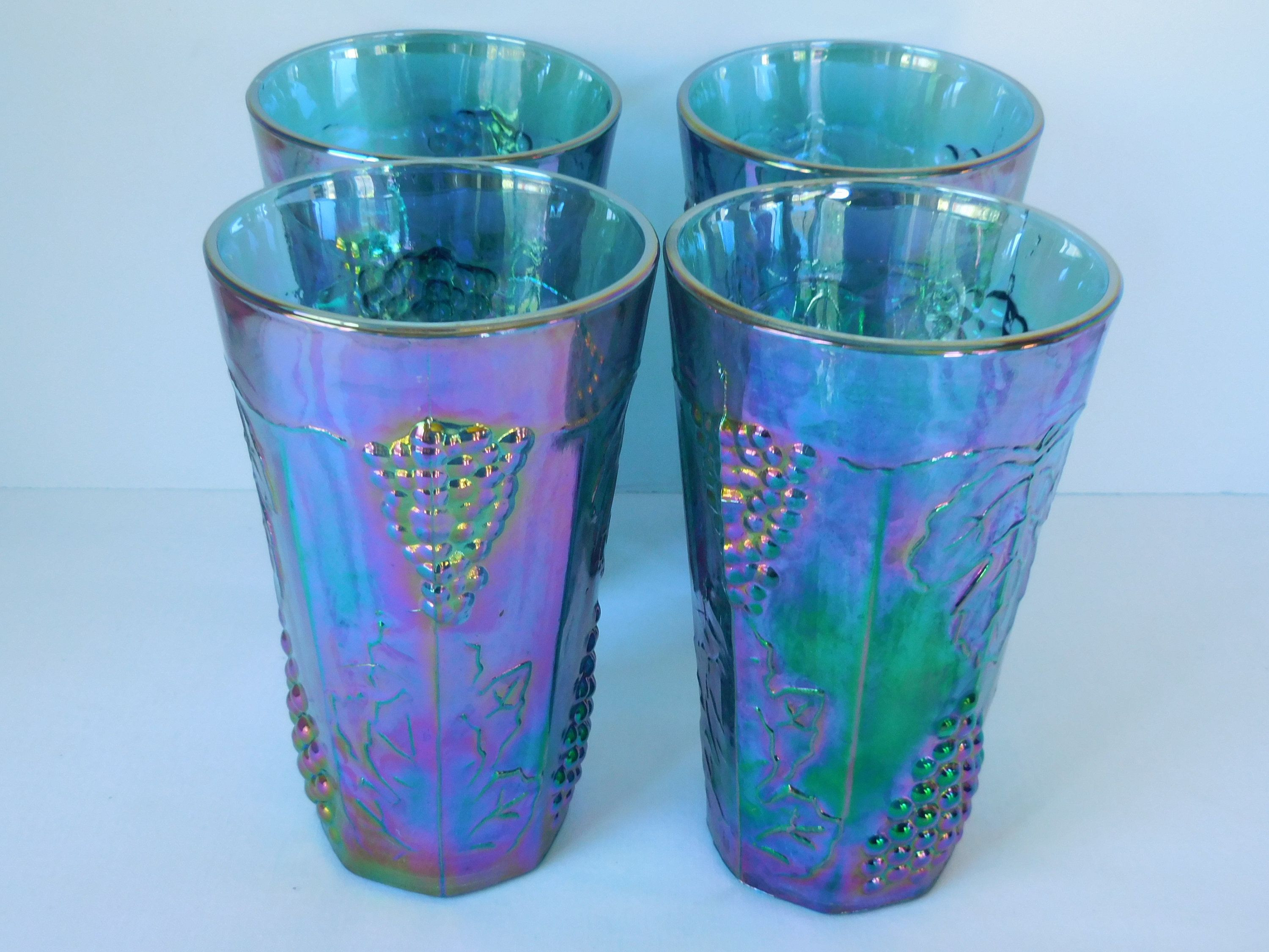 libbey 6 inch cylinder vase of carnival glass blue grape harvest set of four tumblers indiana in carnival glass blue grape harvest set of four tumblers indiana glass co iridescent drinking g