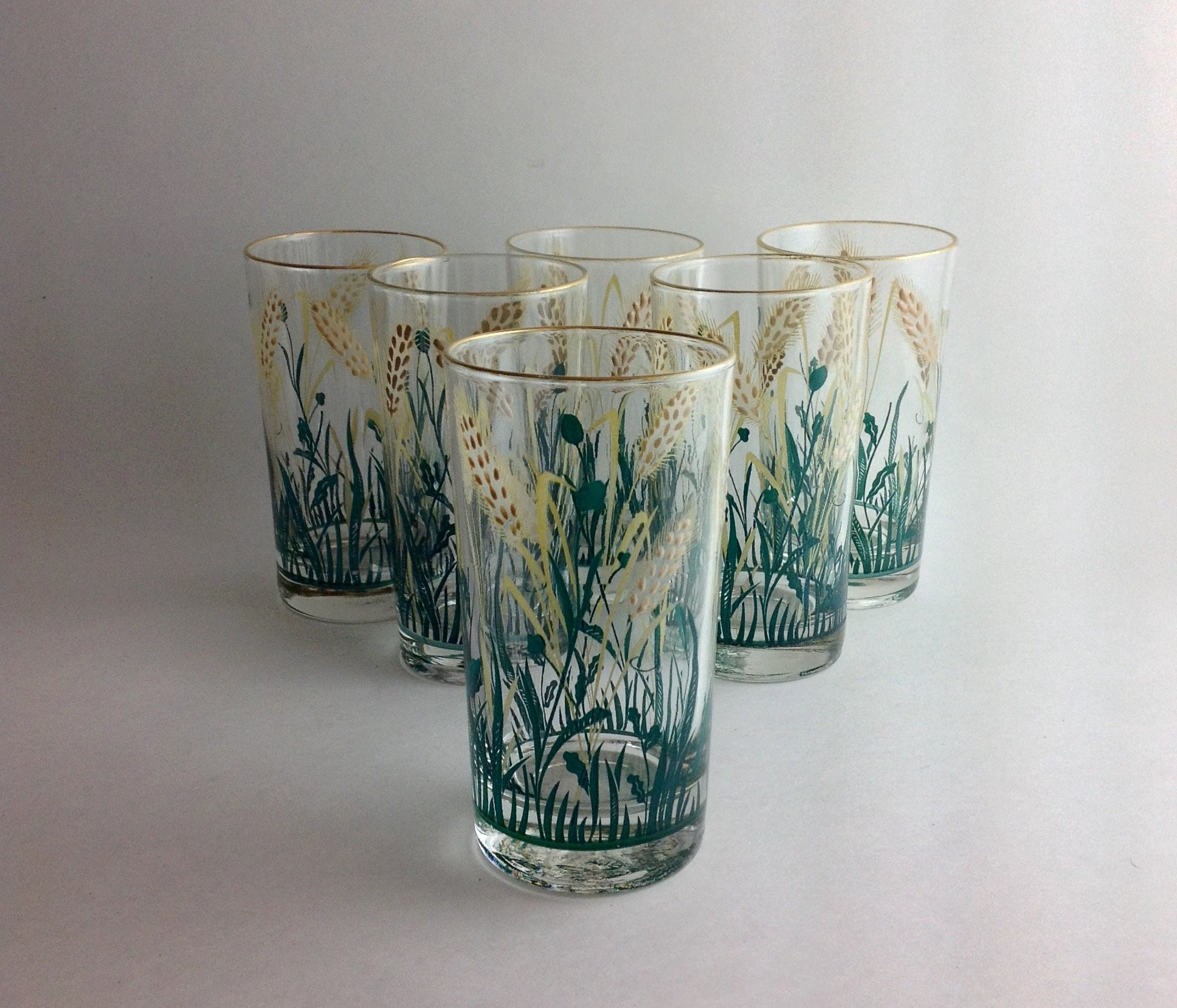 "libbey 6 inch cylinder vase of vintage set of 6 wheat glasses raised design green grass gold intended for dŸ""Žzoom"
