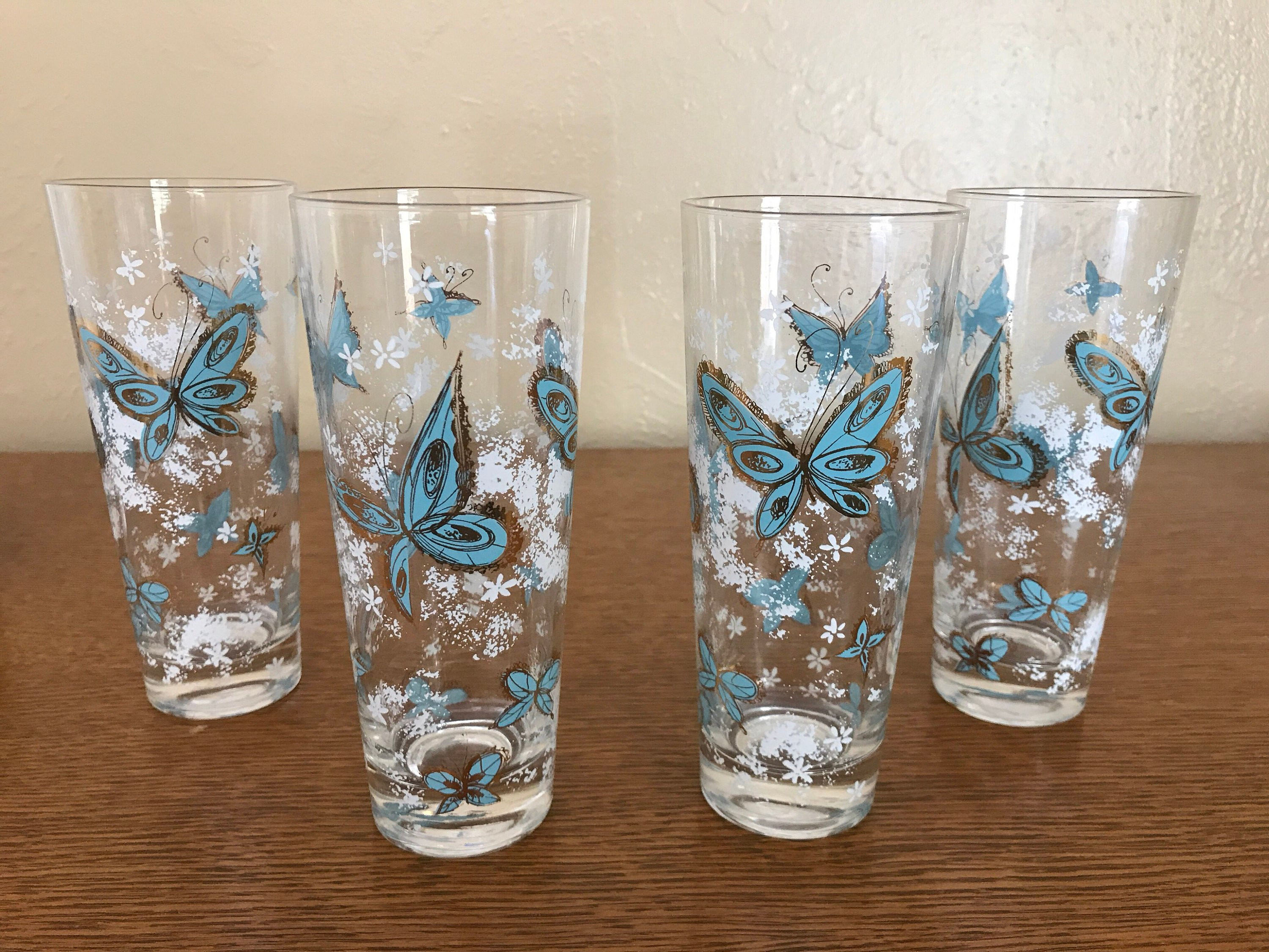 "libbey cylinder vase 6 of midcentury modern libbey butterfly water glass set of 4 etsy throughout dŸ""Žzoom"