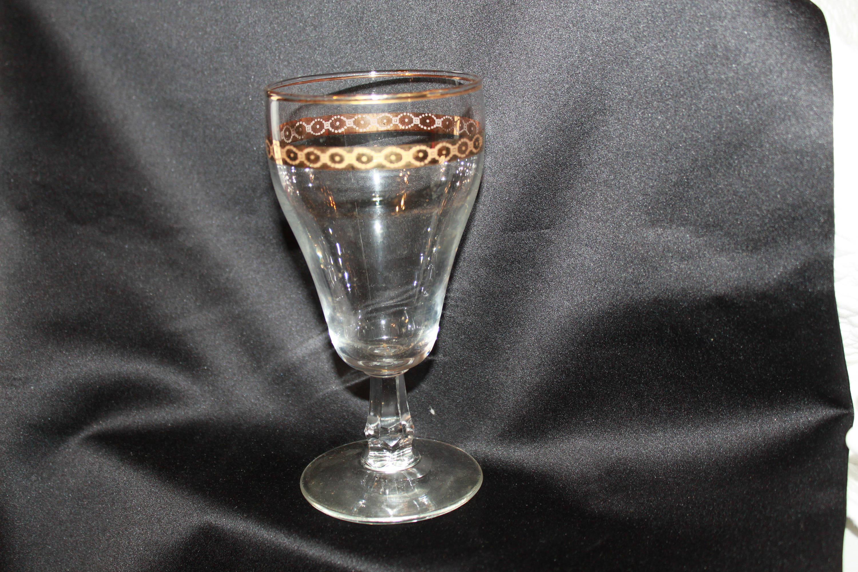 """libbey floral cylinder vase of m2 beautiful gold trim stemmed water glasses maker and age etsy inside dŸ""""Žzoom"""