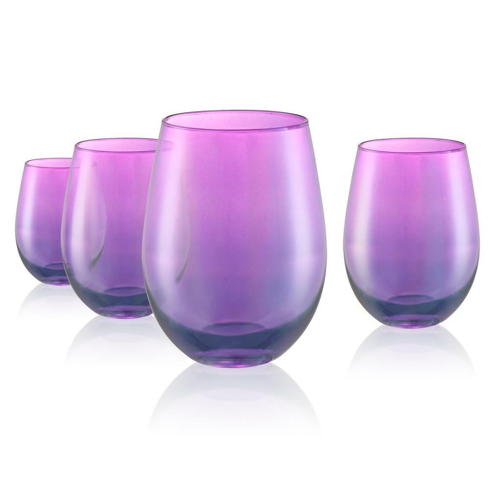 libbey glass tower vase of luster 16 oz stemless wine glasses in purple set of 4 12534b with stemless wine glasses in purple set of 4