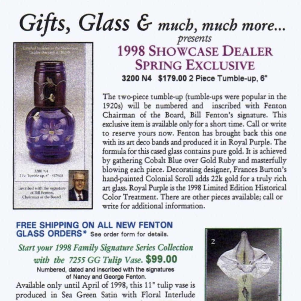 light blue fenton vase of fenton catalogs 90s sgs in 1998 showcase dealer exclusive