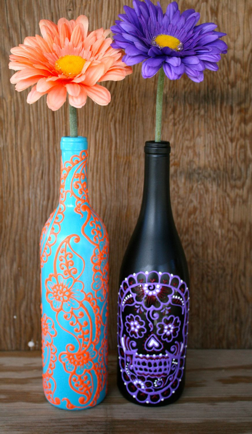 light up rocks for vases of hand painted wine bottle vase up cycled turquoise and coral orange for hand painted wine bottle vase up cycled turquoise and coral orange vibrant henna style design 25 00 via etsy