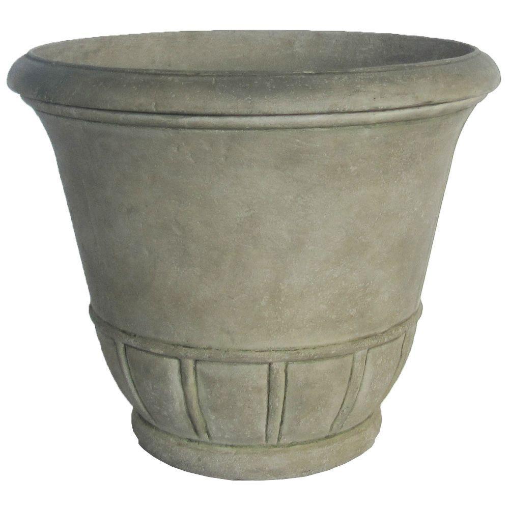 lime green ceramic vase of 19 25 in dia aged granite stone tempo pot pf6693sag the home depot for 19 25 in dia aged granite stone tempo pot