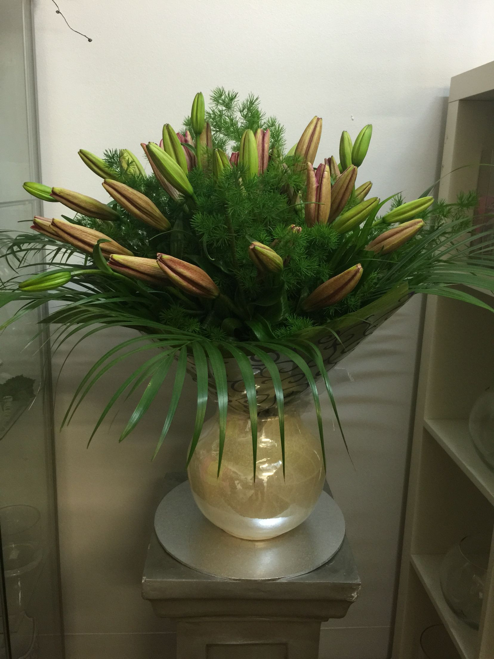 Long Stem Flowers In Vase Of Lilies On Mass In A Long Stem Strauss Bouquet Sandys Flowers Inside Lilies On Mass In A Long Stem Strauss Bouquet
