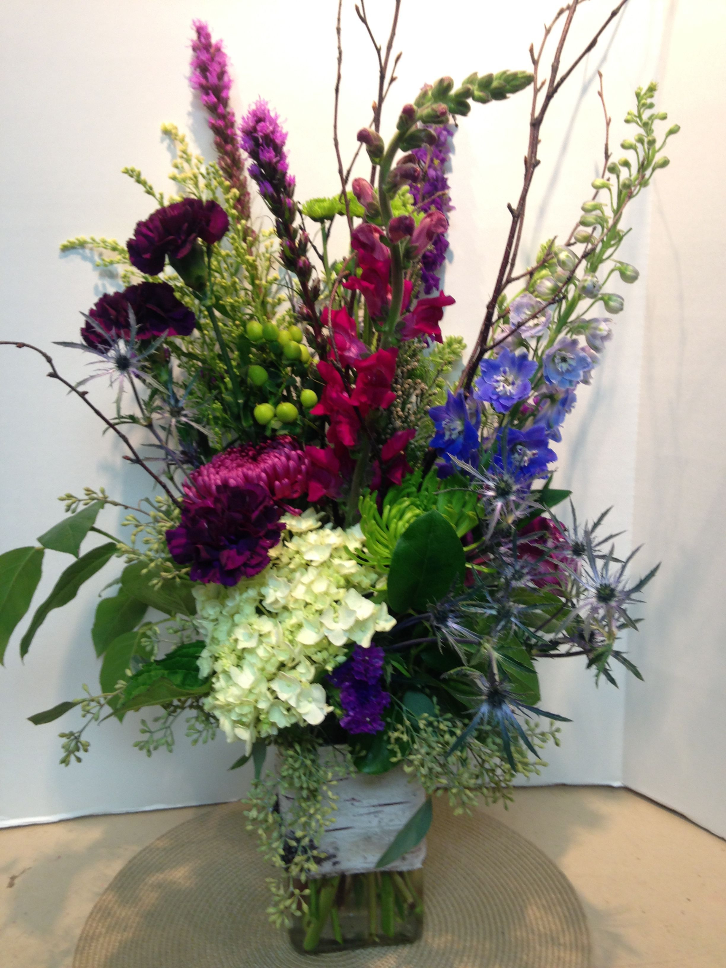 long twigs for vases of beautiful arrangement in a birch wrapped vase delphinium hydrangea regarding beautiful arrangement in a birch wrapped vase delphinium hydrangea plum carnations thistle