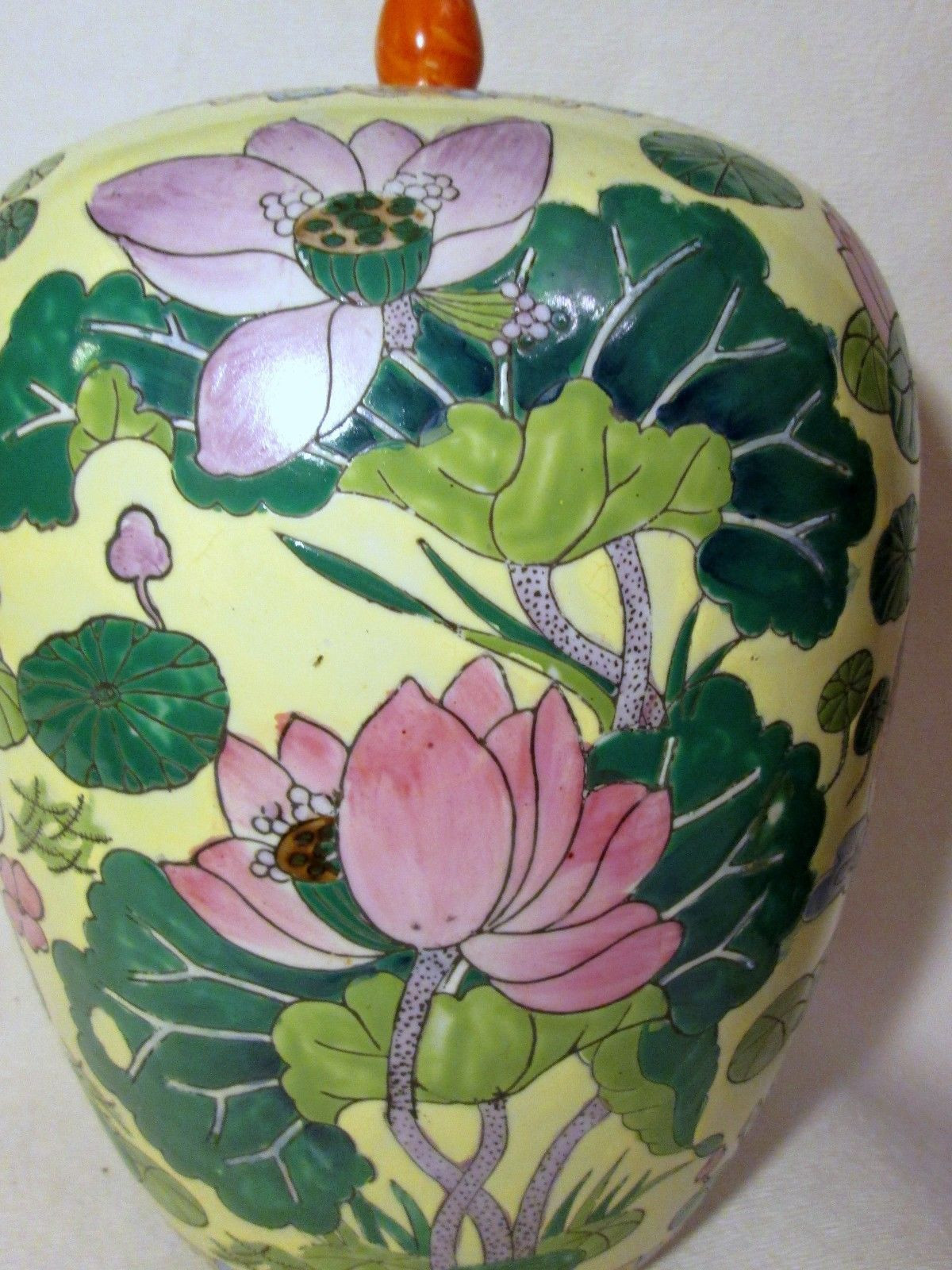 lotus flower vase of ginger jar vase lid birds lotus flower cranes dragon fly yellow in ginger jar vase lid birds lotus flower cranes dragon fly yellow ebay 40 00