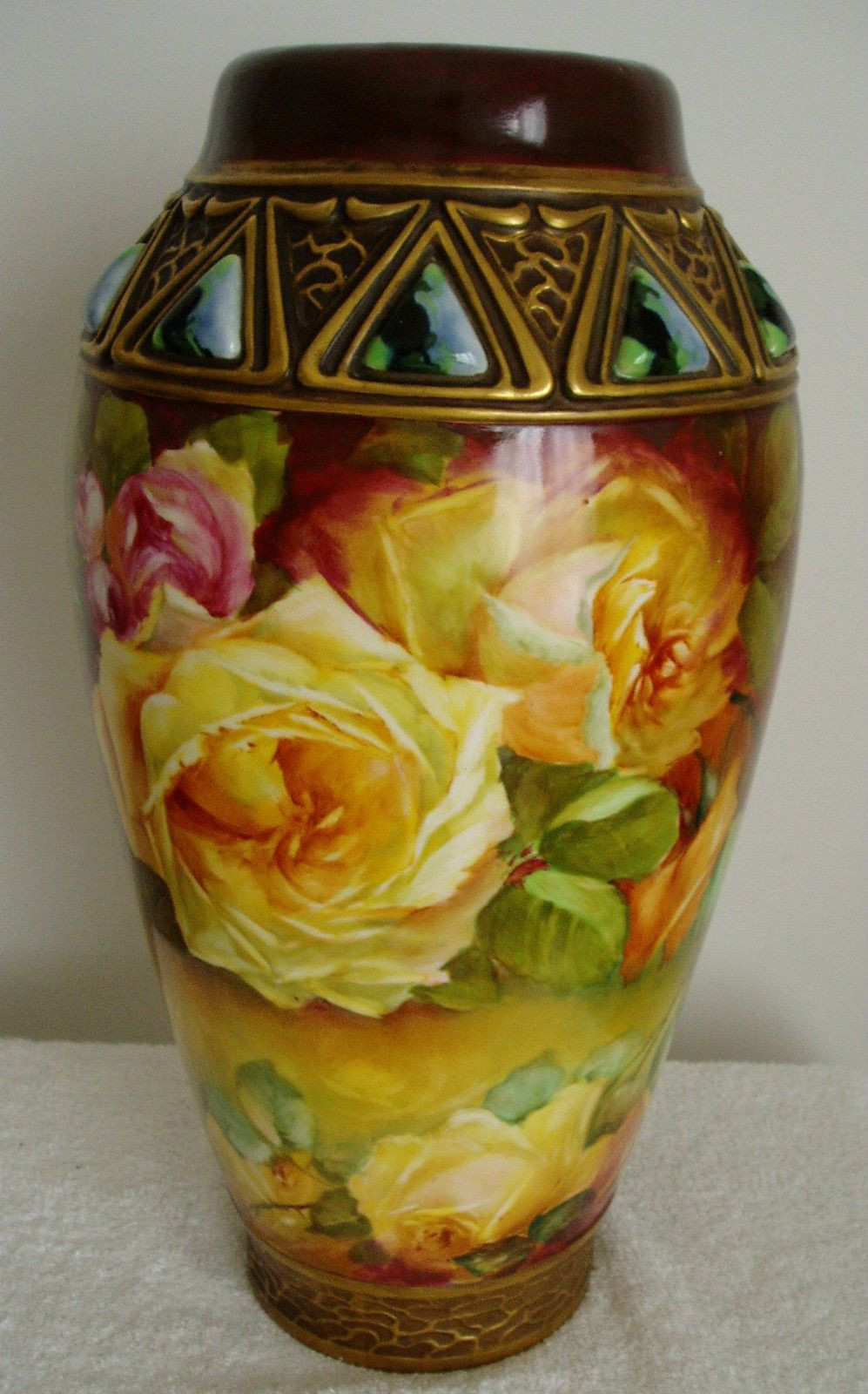 Love Bird Vase Of Habsburg Austria Vintage Large Art Pottery Vase Hand Painted Roses Intended for Habsburg Austria Vintage Large Art Pottery Vase Hand Painted Roses Ebay