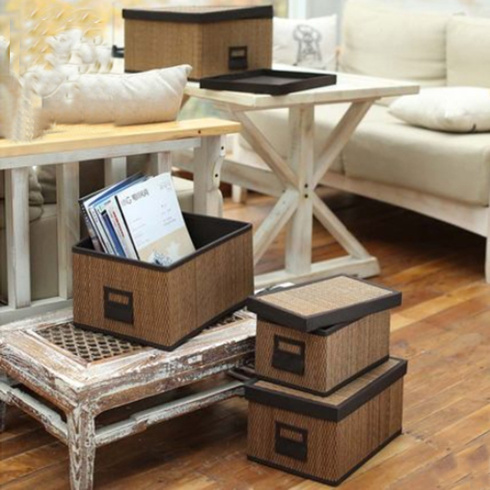 Low Rectangular Vase Of Bamboo Storage Baskets Bins with Lid Rectangular Clothing Neatening In Bamboo Storage Baskets Bins with Lid Rectangular Clothing Neatening toy Storage Basket Extra Large Middle Small organizador Box In Storage Baskets From Home