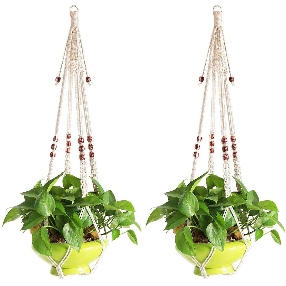 macrame hanging flower vase of amazon com accmor elegant plant hanger set of 4 33 5 inch pure with regard to amazon com accmor elegant plant hanger set of 4 33 5 inch pure macrame handmade cotton rope indoor outdoor balcony patio deck ceiling plant holder for