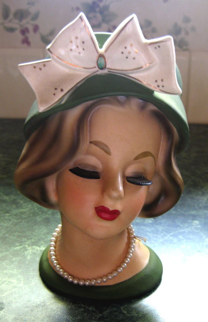 mannequin head vase of enesco lady head vase green with bow 6 1 2 antique head vases throughout enesco lady head vase green with bow 6 1 2