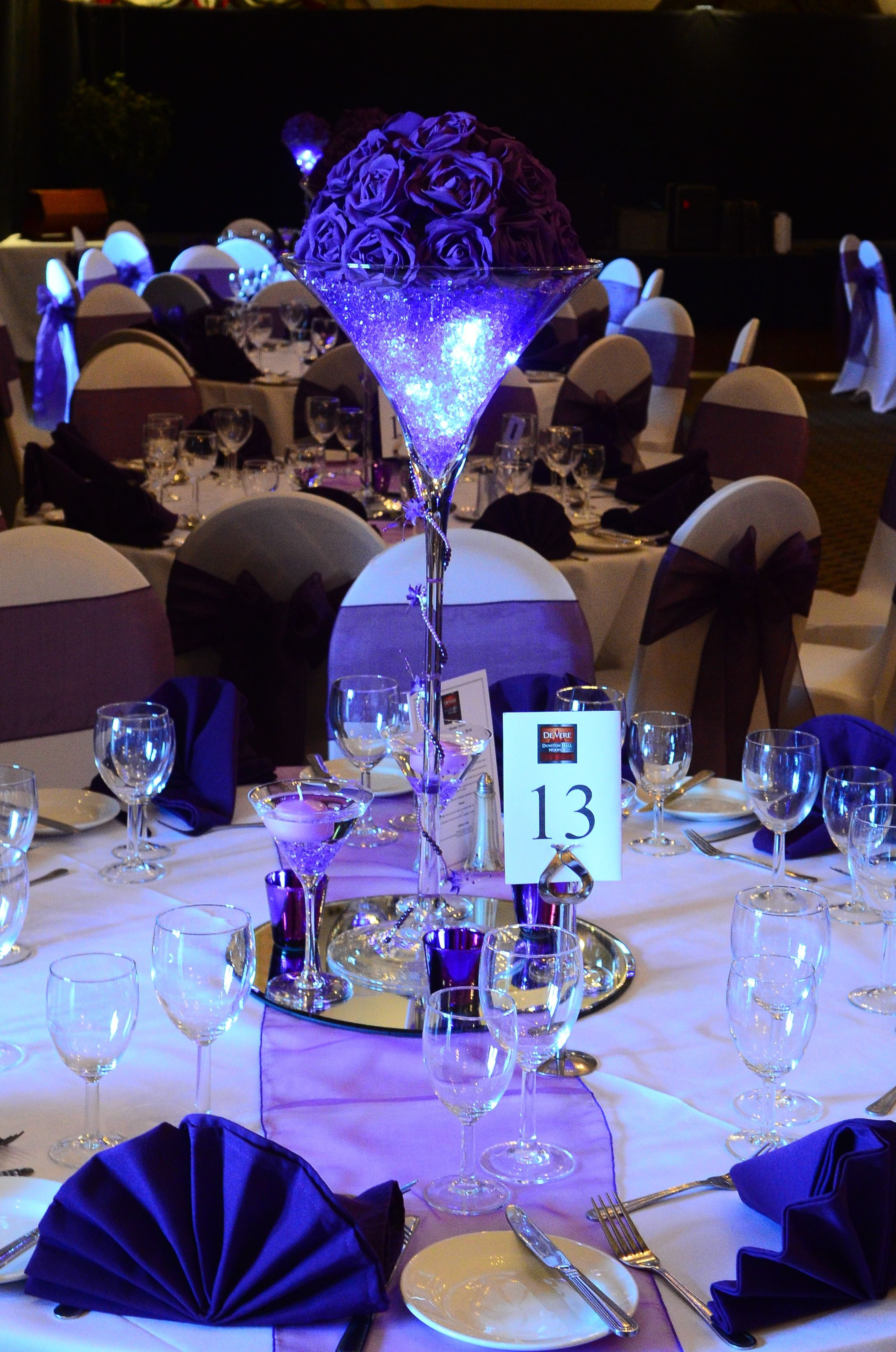 margarita glass vase of purple table centrepiece with purple napkins 2 2176a—3283 in purple table centrepiece with purple napkins 2 2176a—3283