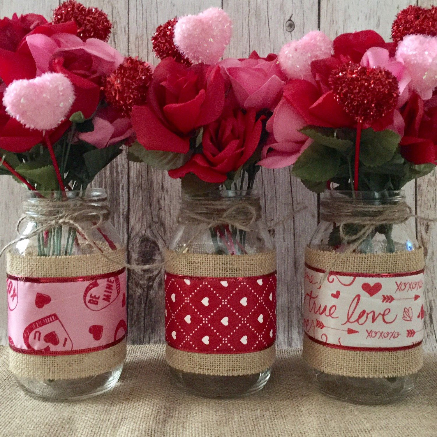 mason jar photo vase of 3 valentines day mason jar vases table decor gift valentines day with regard to valentines day mason jar burlap vases limited quantity available