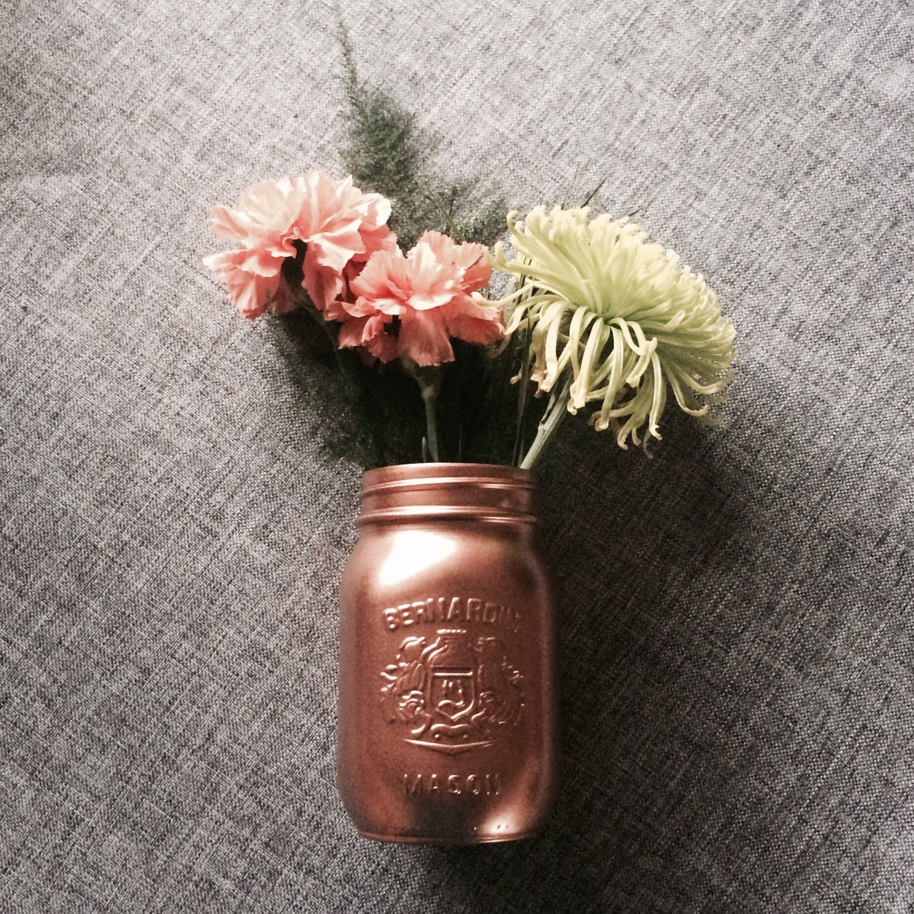 Mason Jar Vase Of Copper Mason Jar Vase 500 Ml Country Chic Painted Mason Jar In Copper Mason Jar Vase 500 Ml Country Chic Painted Mason Jar Mothers Day Gift Simple Wedding Decor Flower Vase Centerpiece by Decorateyourday On Etsy