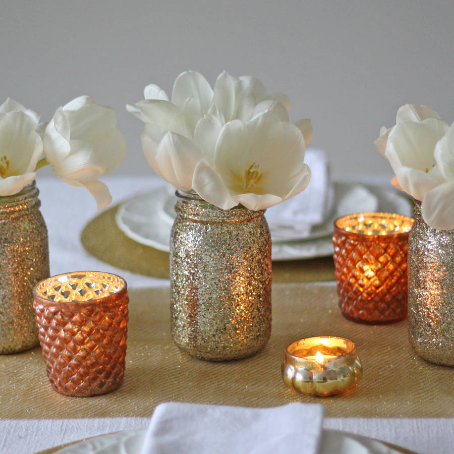 Mason Jar Vase Of Gold Glitter Jar Vase by the Wedding Of My Dreams for Gold Glitter Jar Vase