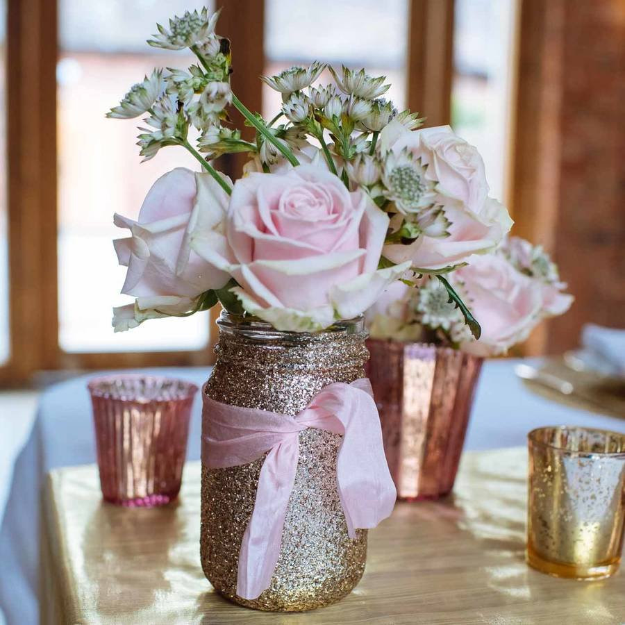 Mason Jar Vase Of Gold Glitter Jar Vase by the Wedding Of My Dreams Intended for Gold Glitter Jar Vase