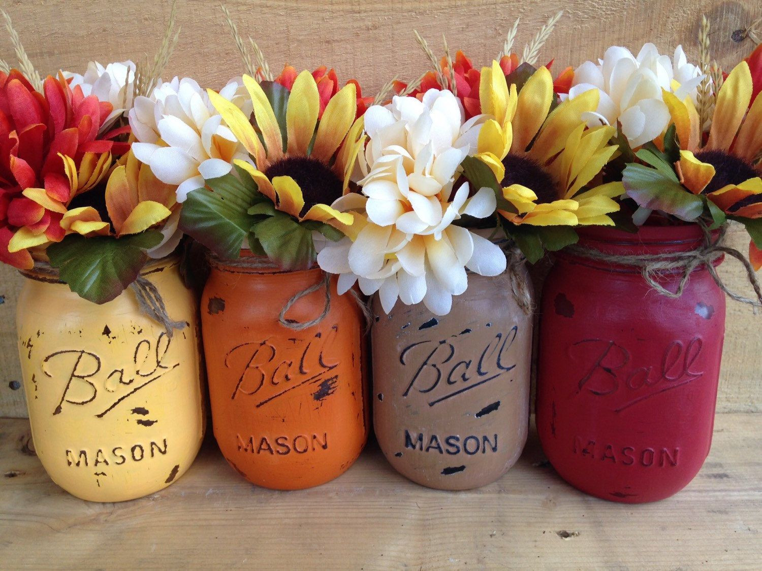 Mason Jar Vase Of Painted Mason Jars Fall Vases Fall Decor Rustic Decor Home Decor within Painted Mason Jars Fall Vases Fall Decor Rustic Decor Home Decor Thanksgiving Decor Fall Wedding Centerpieces Holiday Decor by Winecountryaccents On