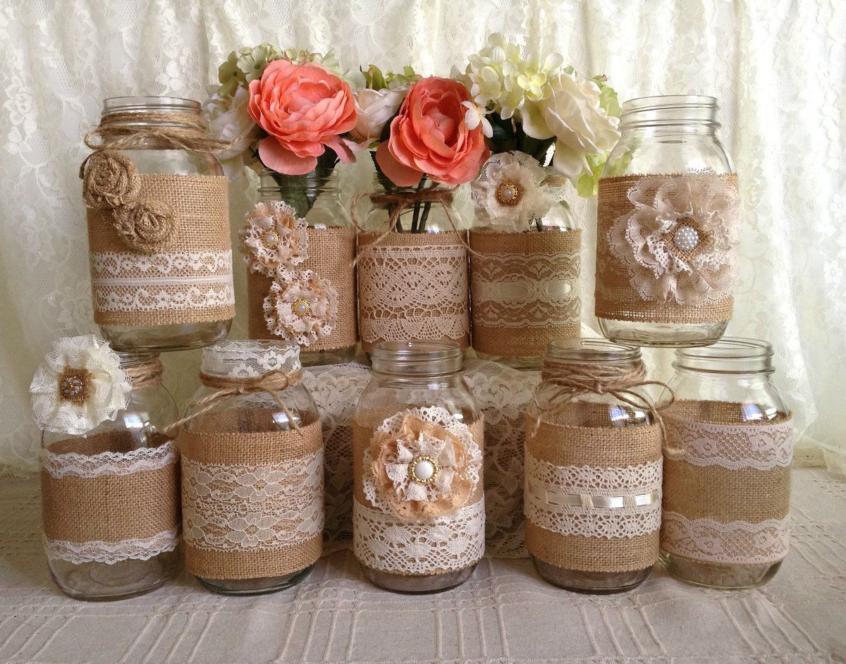 mason jar vases for wedding of decorative jars and vases collection 10x rustic burlap and lace regarding 10x rustic burlap and lace covered mason jar vases wedding