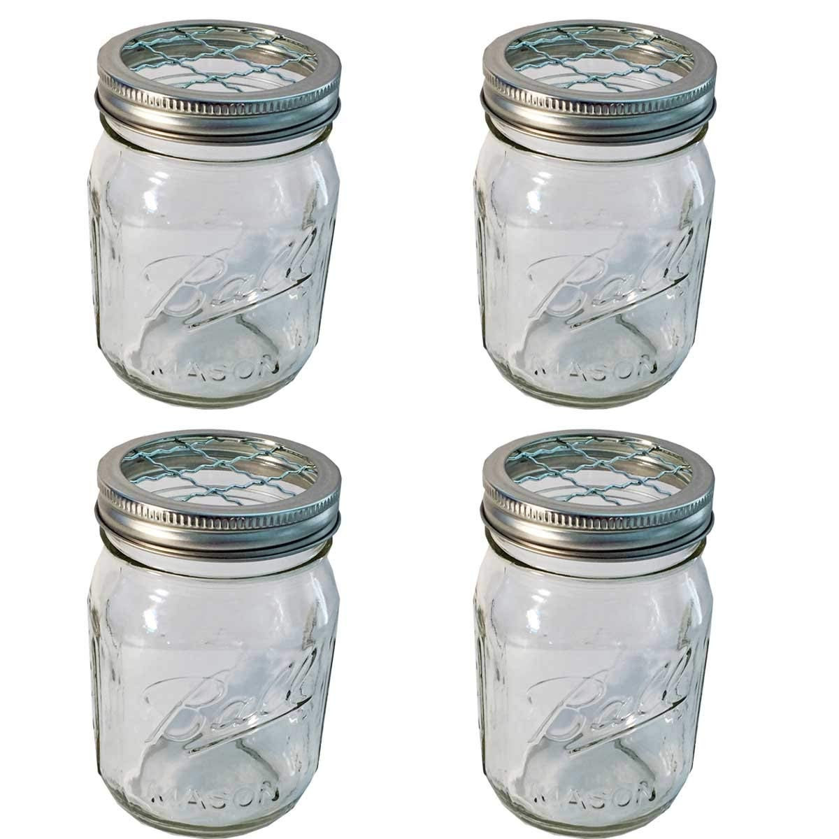 Mason Jar Vases with Ribbon Of Amazon Com 4 Mason Jars with 4 Frog Lid Inserts Regular Mouth Pint Intended for Amazon Com 4 Mason Jars with 4 Frog Lid Inserts Regular Mouth Pint 16 Oz Bundle Clear Kitchen Dining