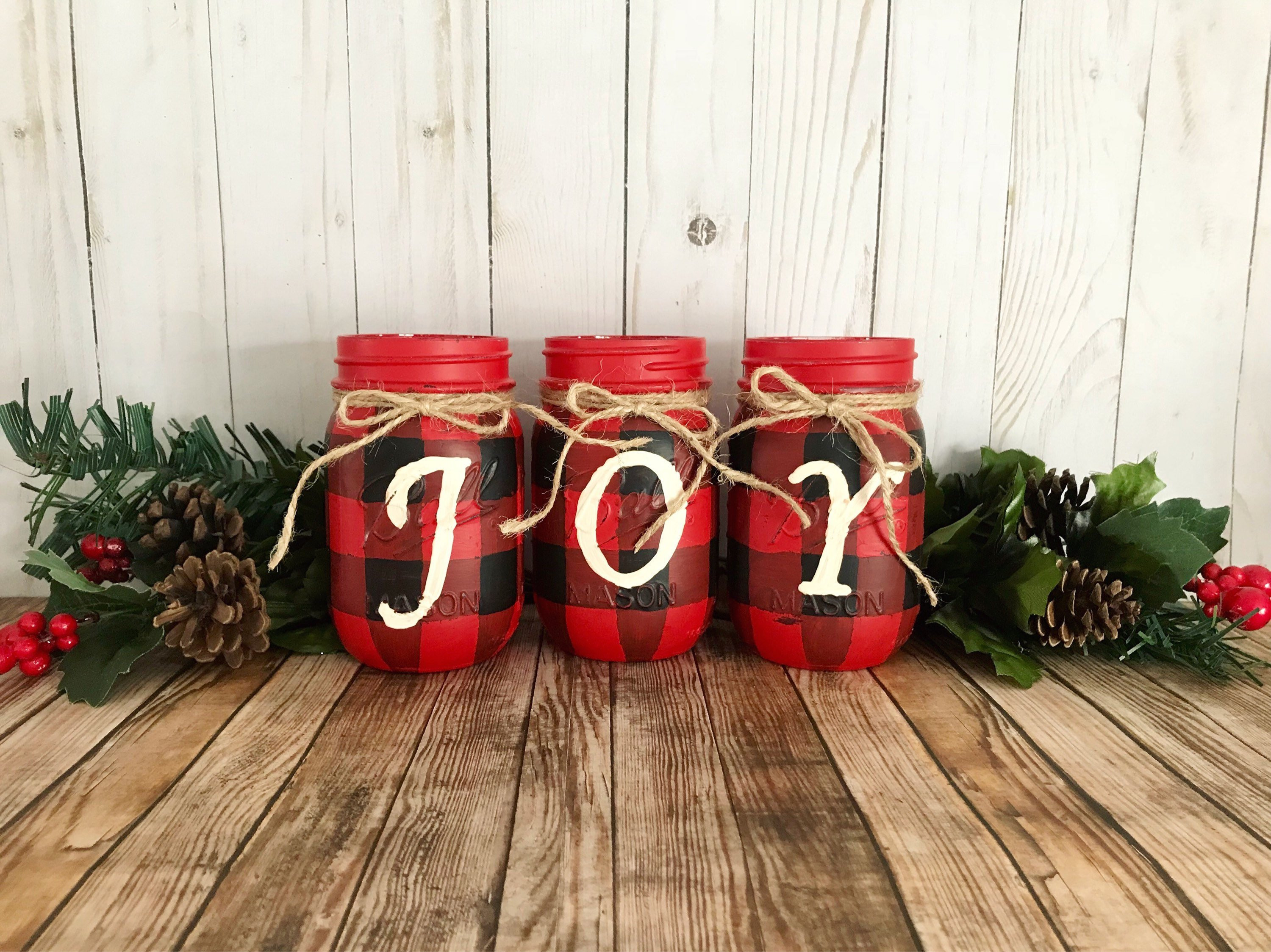20 Nice Mason Jar Vases with Ribbon 2021 free download mason jar vases with ribbon of buffalo plaid mason jars christmas centerpiece hand painted etsy throughout dc29fc294c28ezoom