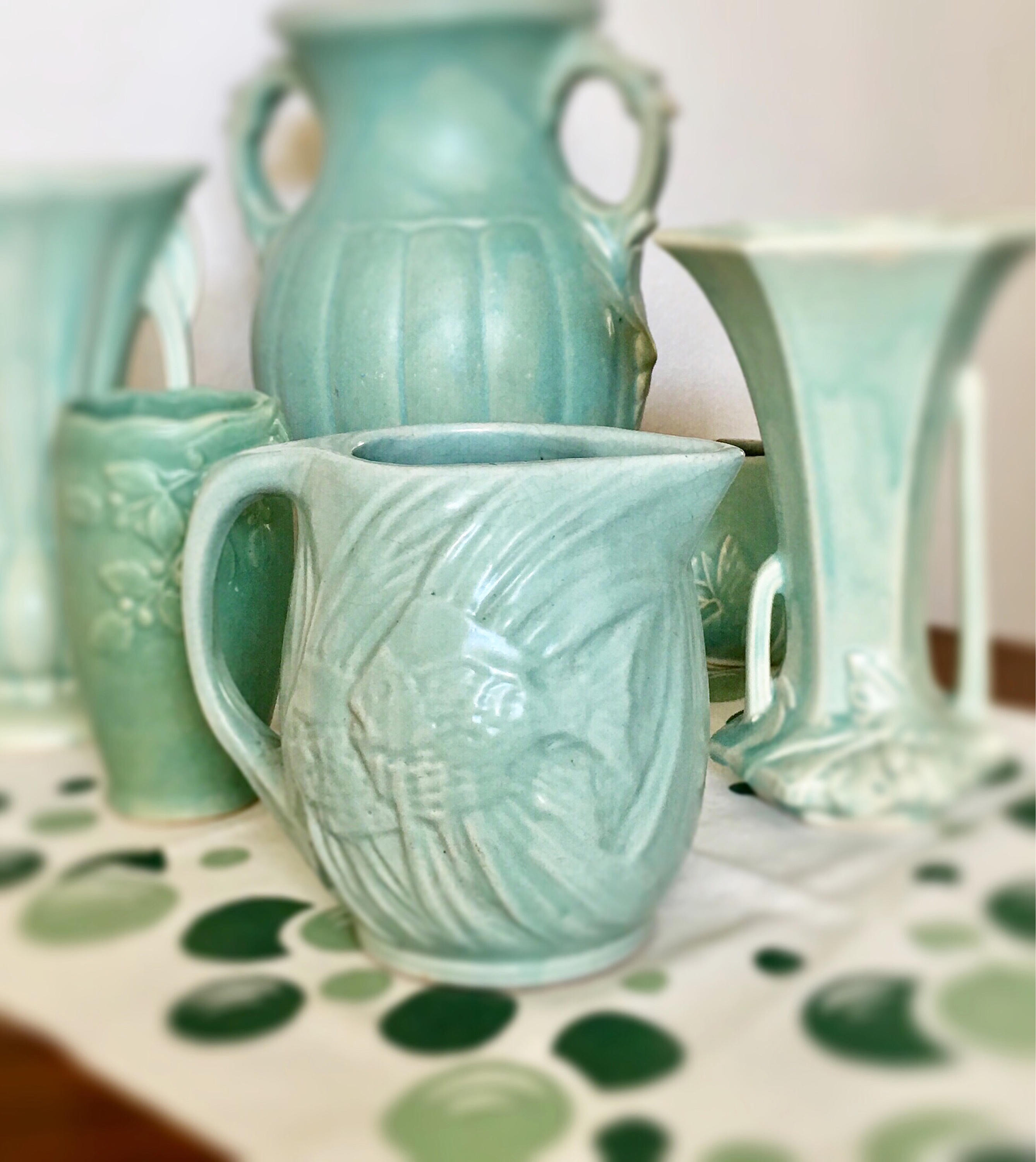 "Mccoy Turquoise Vase Of Vintage Mccoy Anglefish Pitcher Early Mccoy Aqua Etsy Intended for DŸ""Žzoom"