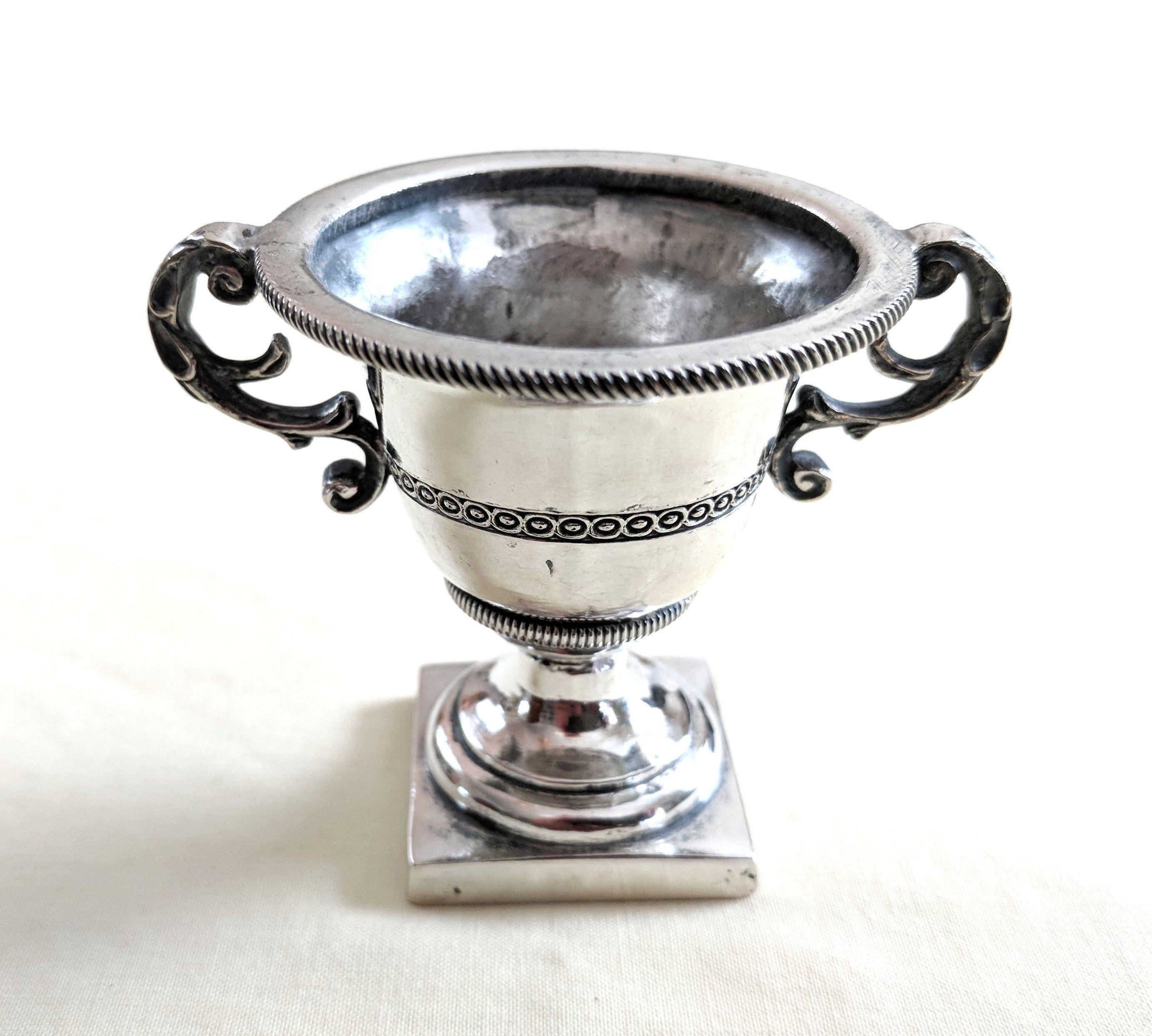 metal trumpet vase of miniature 800 silver double handled trumpet style vase vintage in miniature 800 silver double handled trumpet style vase