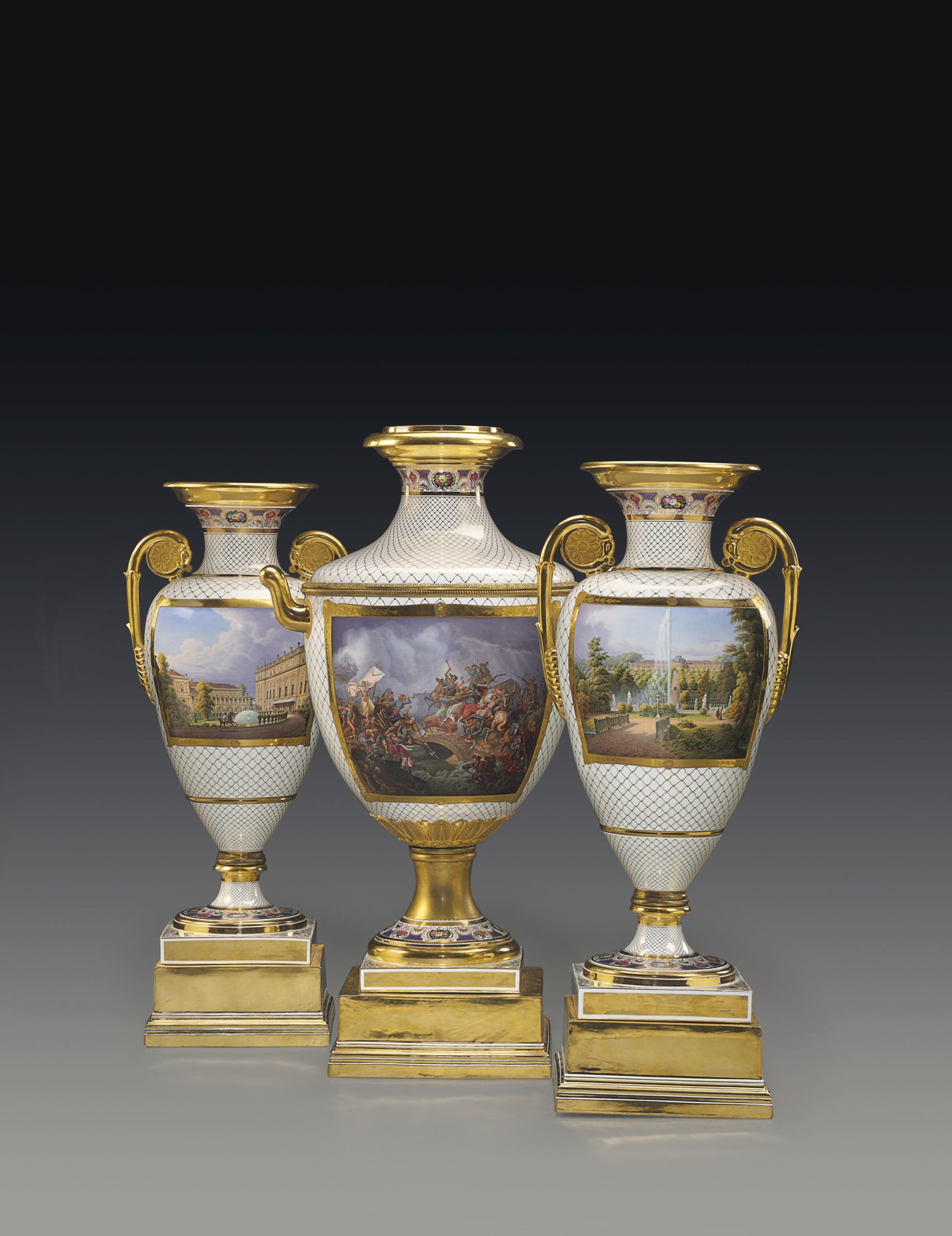Metal Vase with Handles Of K P M Ka¶nigliche Porzellan Manufaktur Berlin A Highly Important Intended for A Highly Important Classical Armorial and topographical Three Piece Vase Garniture From the Meiningen