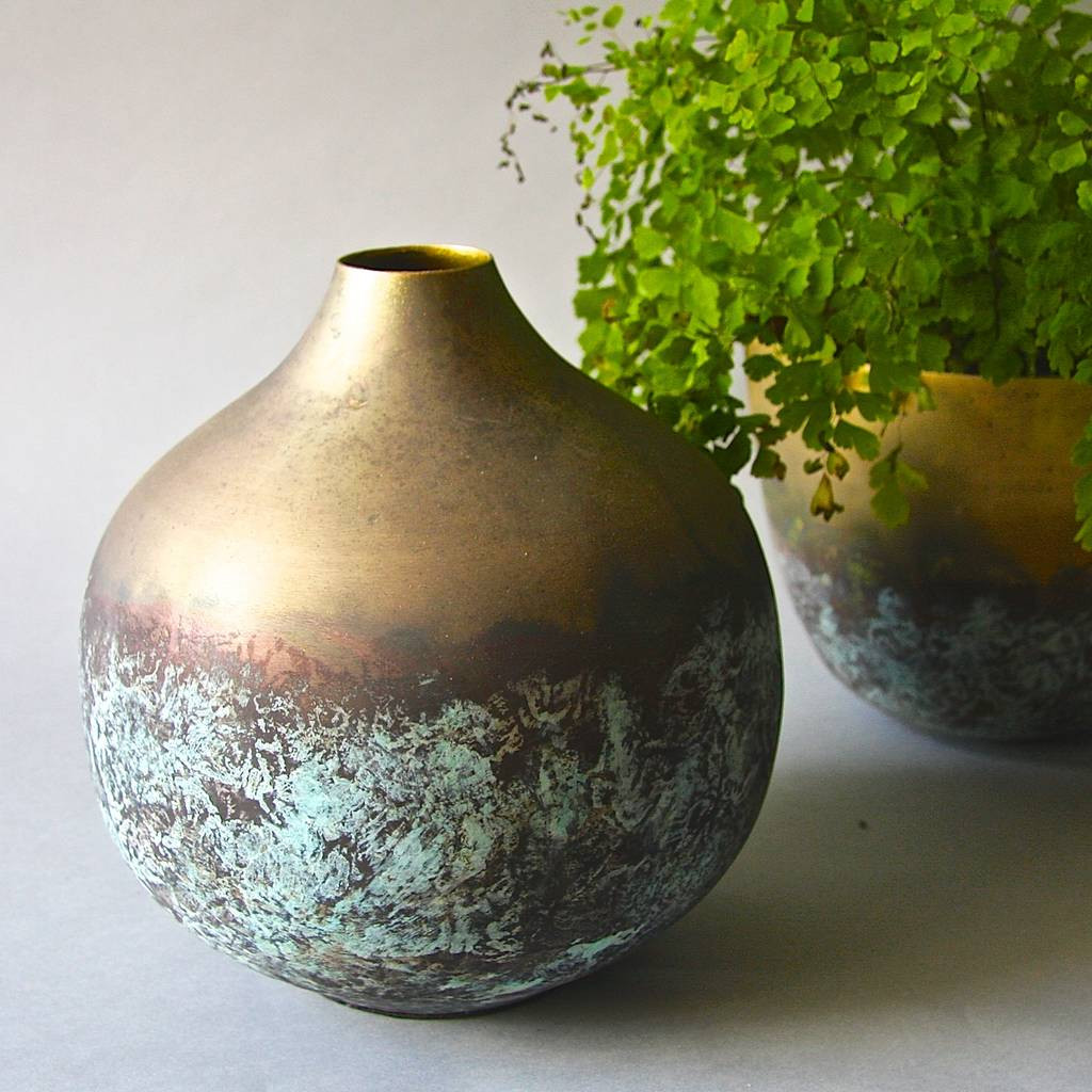 Mexican Pottery Vase Of Brass Verdigris Vessel by London Garden Trading Notonthehighstreet Com within Brass Verdigris Vessel