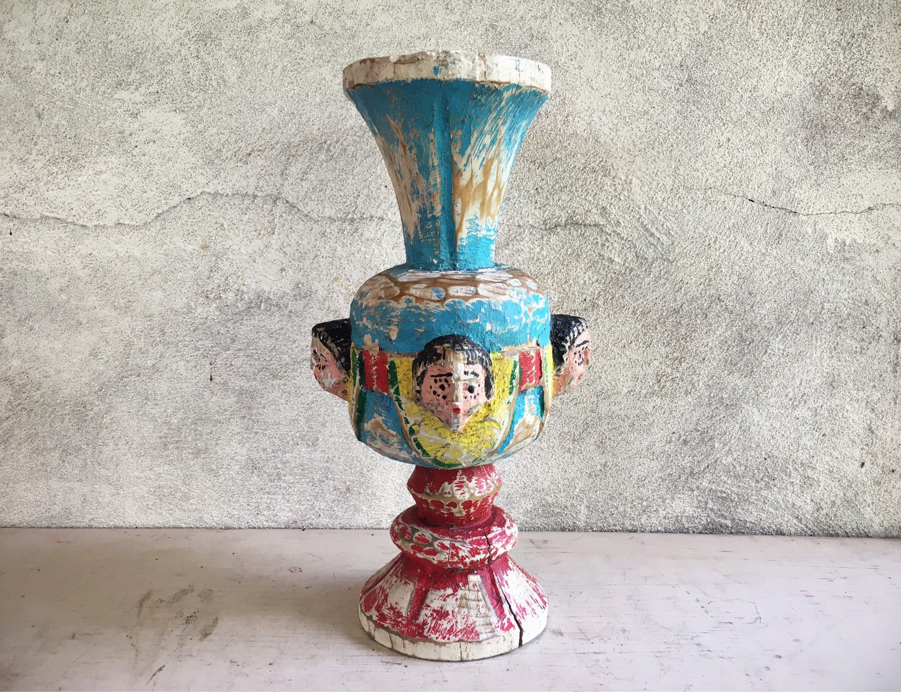 Mexican Talavera Vases Of Antique Angel Carved Wood Pillar Candle Holder Rustic Mexican Decor Pertaining to Antique Angel Carved Wood Pillar Candle Holder Rustic Mexican Decor Architectural Spanish Colonial