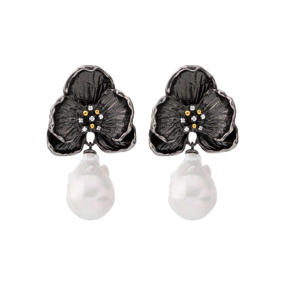 michael aram white orchid vase of orchid earrings w white pearl diamonds in sterling silver black for orchid earrings w white pearl diamonds in sterling silver black rhodium