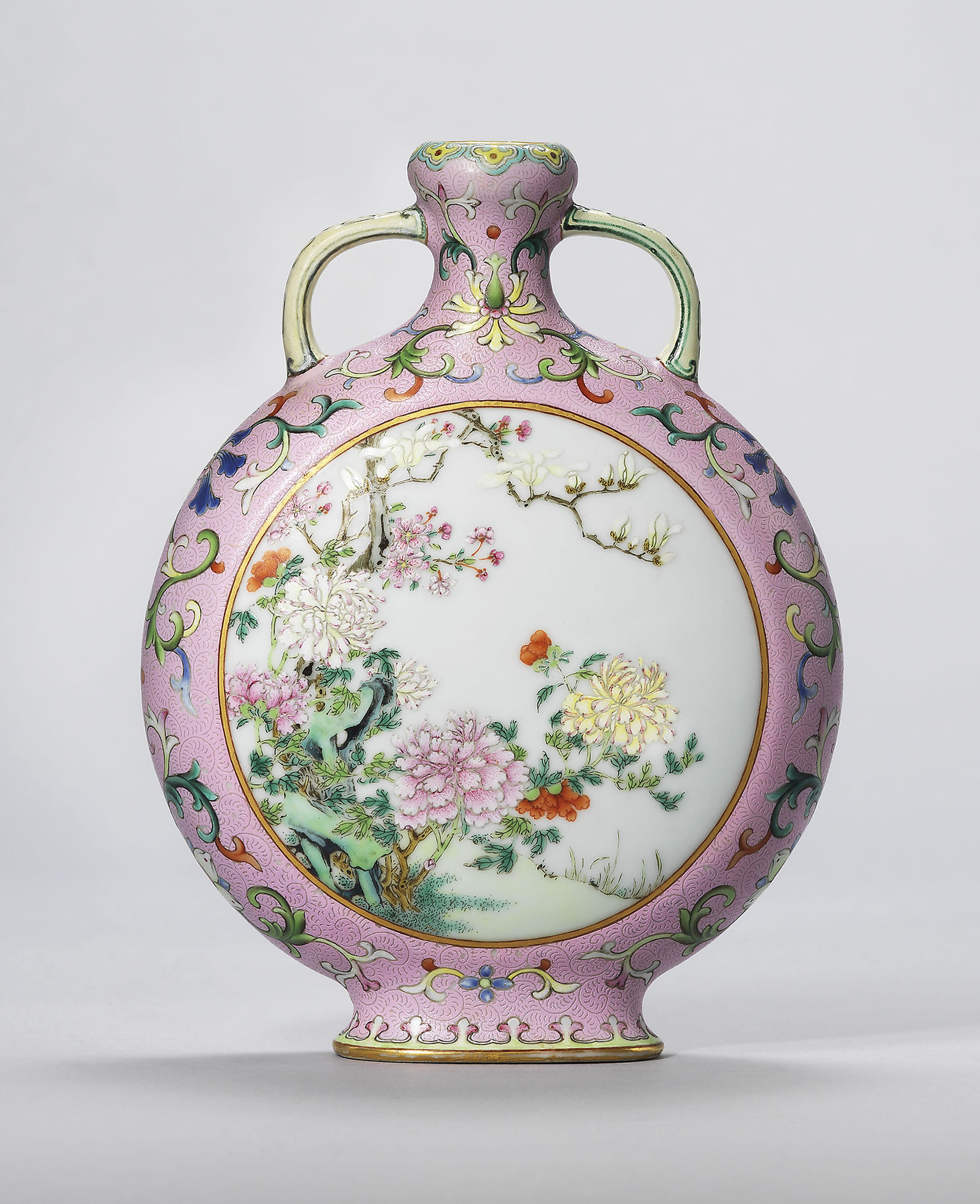 mikasa blossom crystal vase of a guide to the symbolism of flowers on chinese ceramics christies with regard to a rare and exceptional small pink ground famille rose moonflask qianlong four character