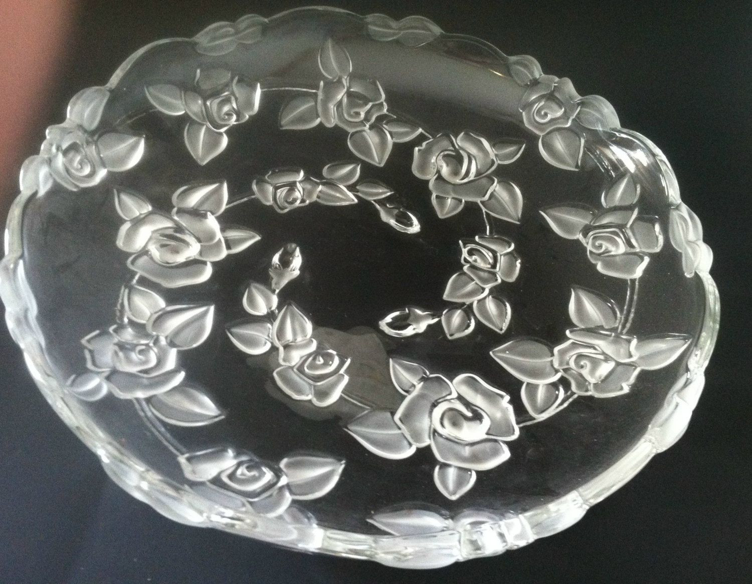 mikasa florale vase of mikasa embossed frosted rose footed serving dish plate bowl in mikasa embossed frosted rose footed serving dish plate bowl scalloped edge by michellesvarietyshop on etsy