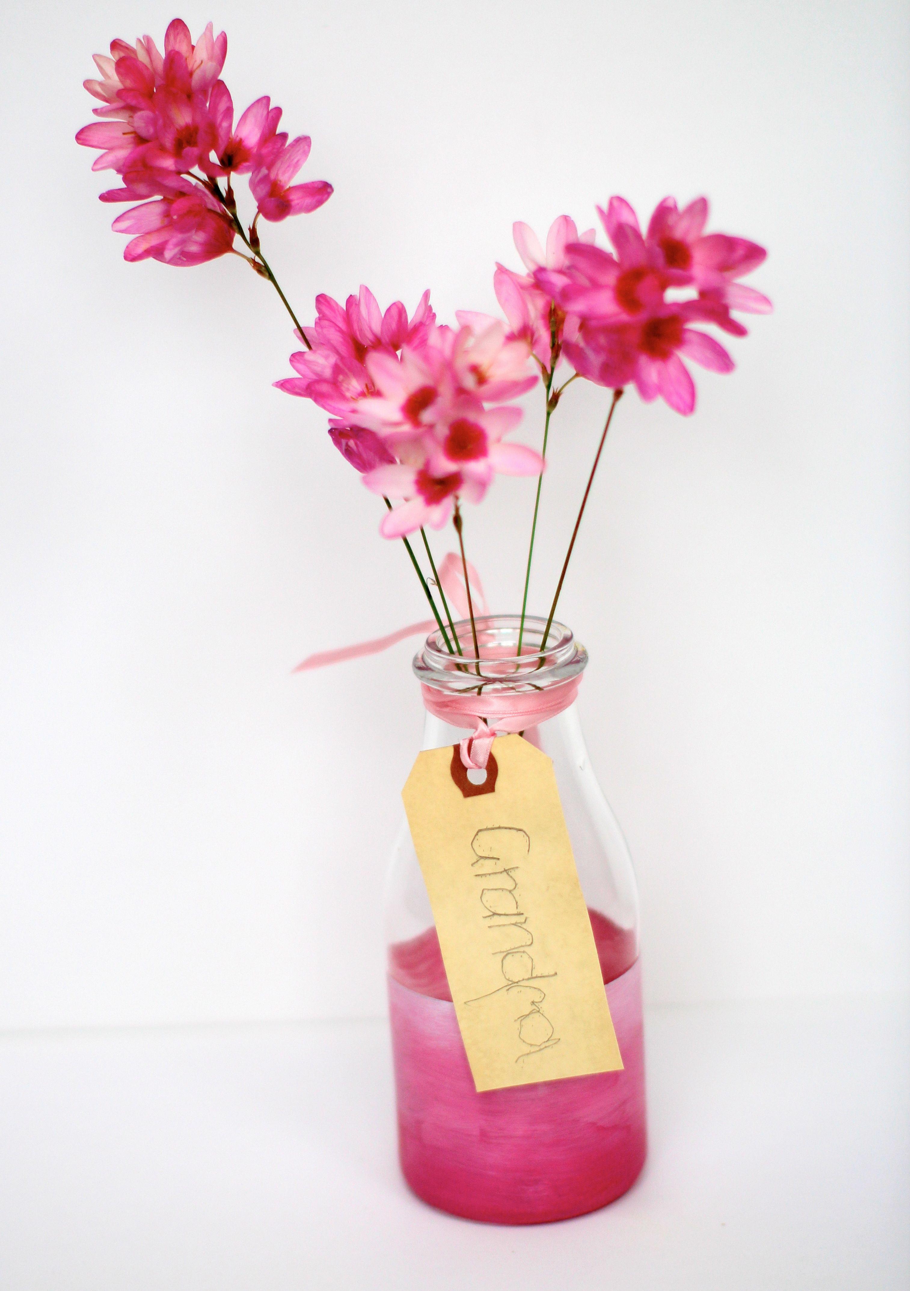 milk bottle flower vases of decor regarding diy vase for grandma