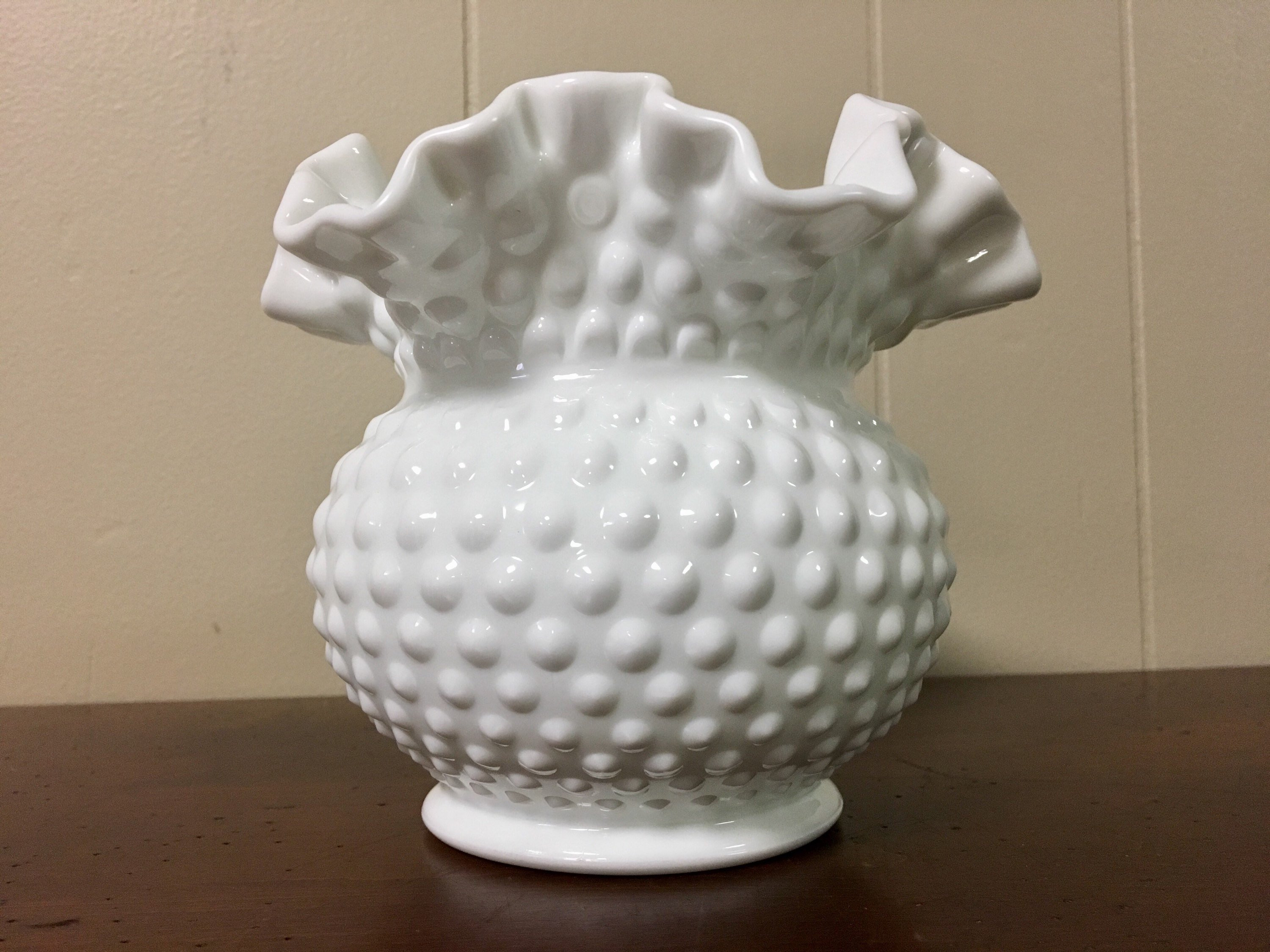 "Milk Glass Fan Vase Of Fenton Hobnail Milk Glass Vase with Ruffled top Round White Etsy Inside DŸ""Žzoom"
