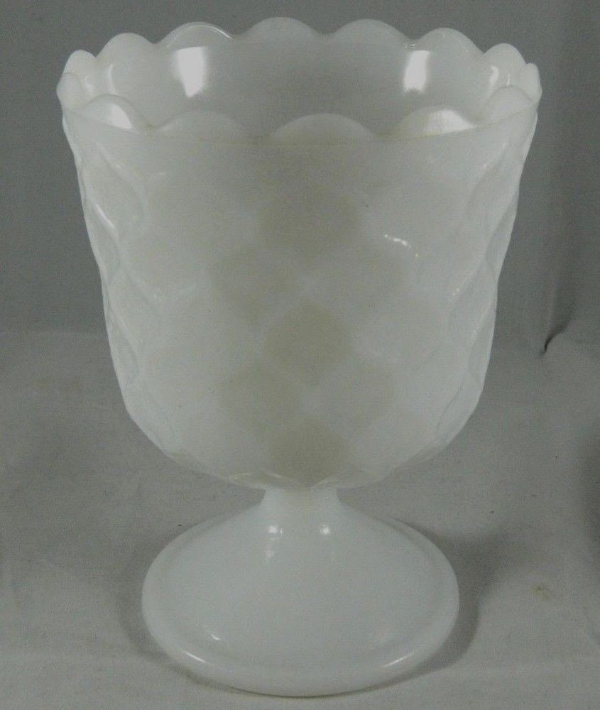 milk glass fan vase of vintage e o brody mj 42 milk glass planter compote candy dish with vintage e o brody mj 42 milk glass planter compote candy dish honeycomb design eobrody