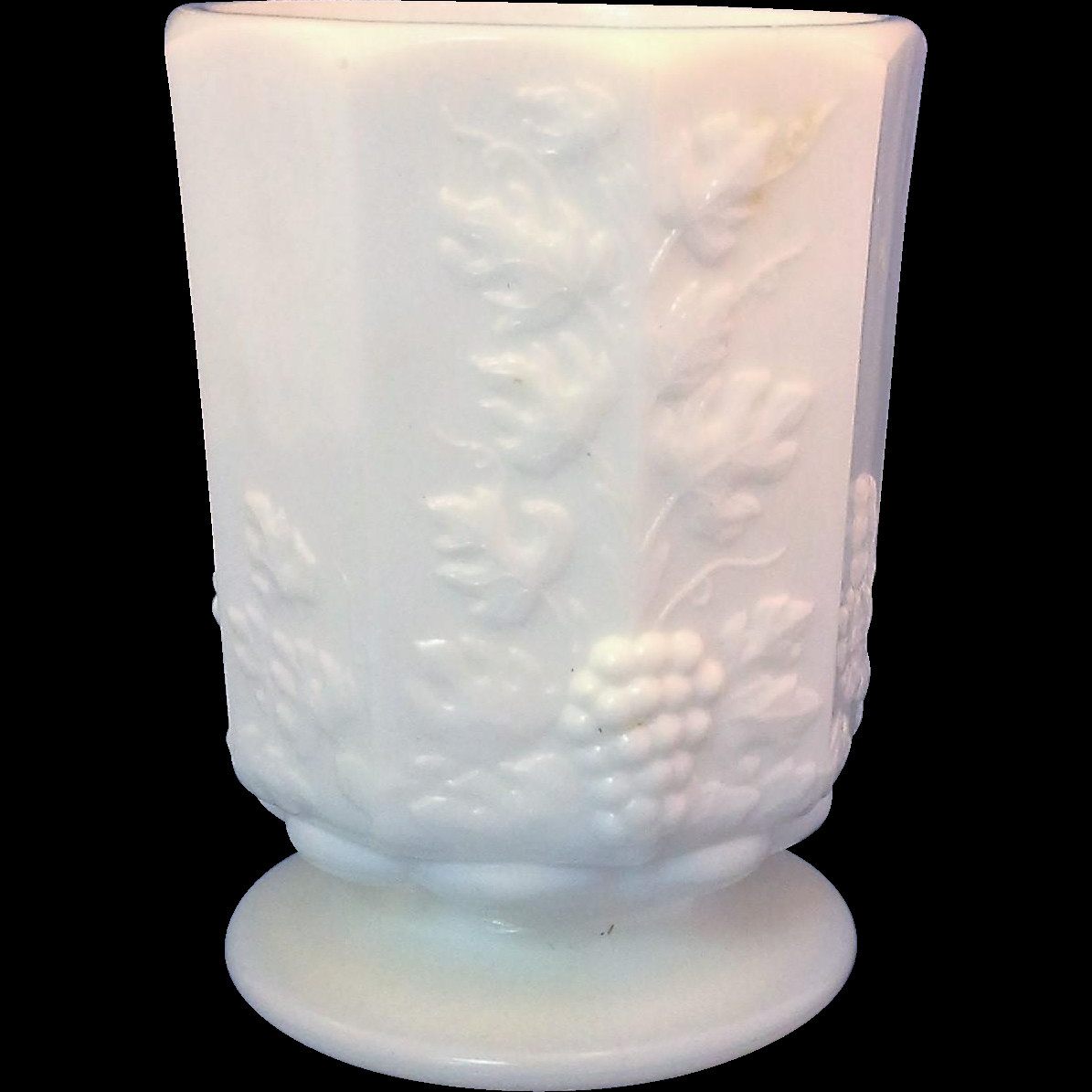 milk glass fan vase of westmoreland paneled grape milk glass short vase footed tumbler throughout 9a650d6779dad0a883a0da7d726df6ca
