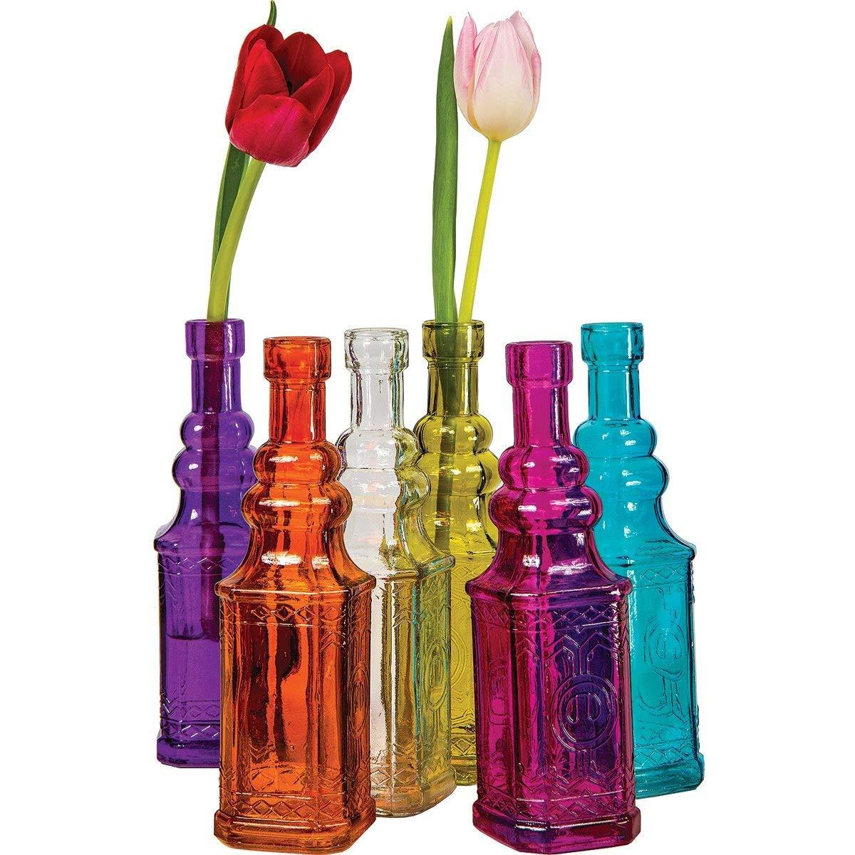 Mini Glass Bud Vases Bulk Of Durable Modeling Luna Bazaar Small Vintage Glass Bottle Set 7 Inch Intended for Durable Modeling Luna Bazaar Small Vintage Glass Bottle Set 7 Inch Ella Design