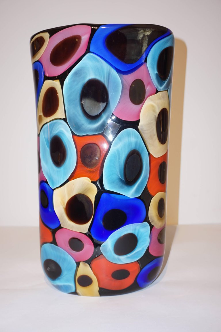 modern art glass vase of camozzo 1990 modern black azure blue red pink yellow murano glass for camozzo 1990 modern black azure blue red pink yellow murano glass vases in excellent condition for