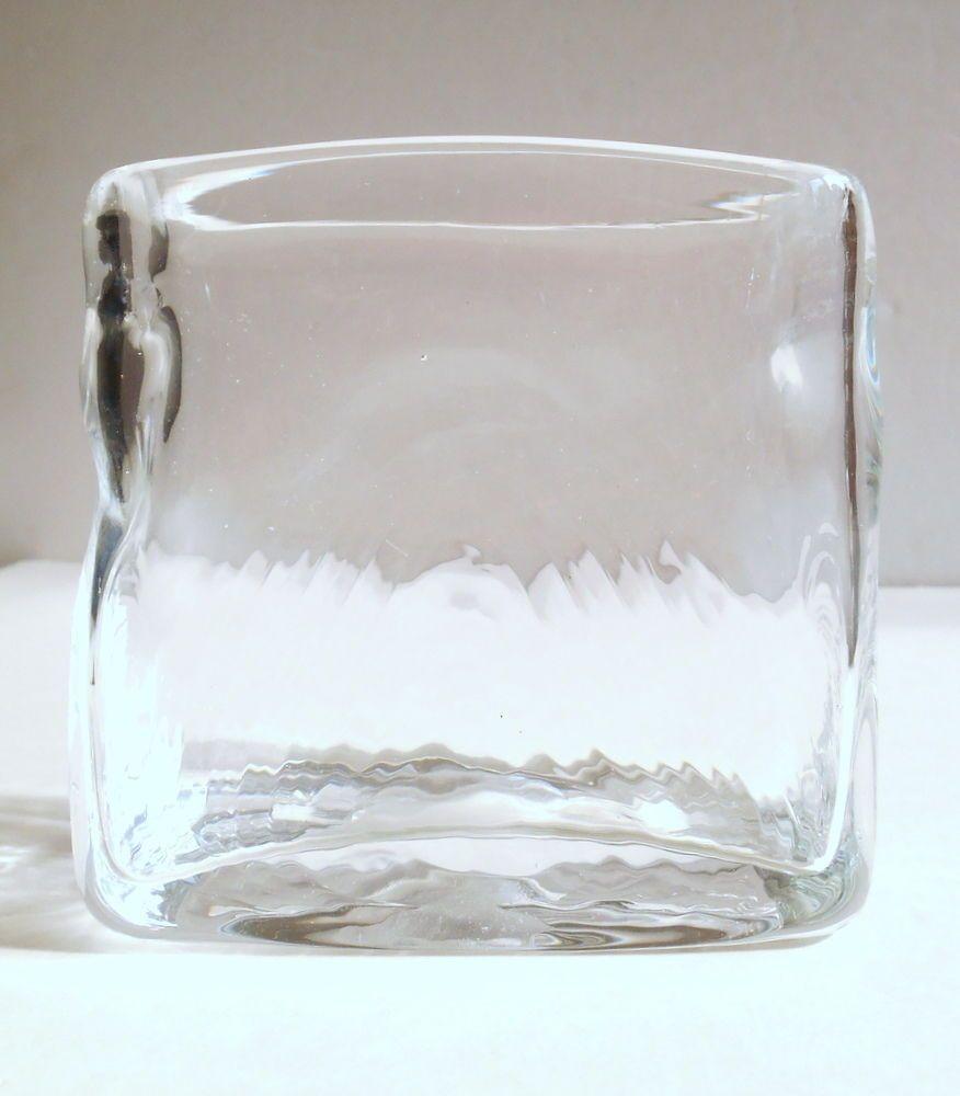 modern crystal vase of details about art glass vase clear rectangle raised design polished within art glass vase clear rectangle raised design polished pontil mid century modern midcenturymodern
