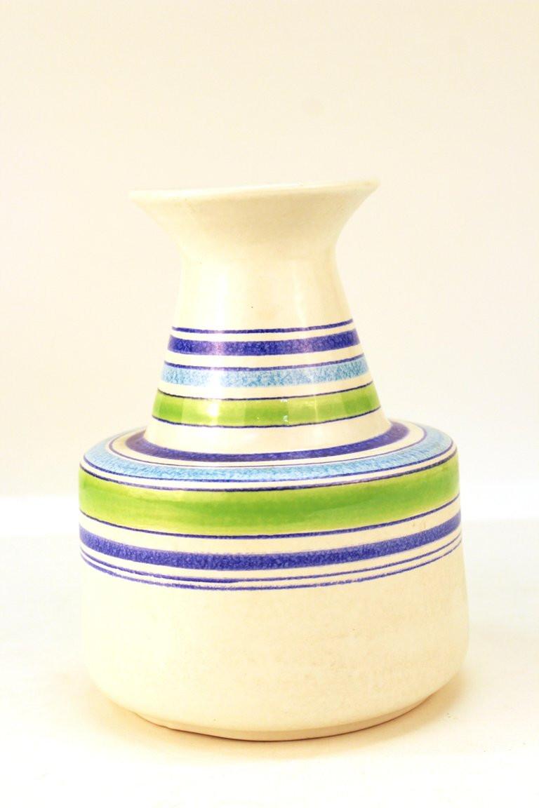 Modern White Ceramic Vase Of Aldo Londi Mid Century Modern Raymor for Bitossi Rosenthal Netter within Mid Century Modern Ceramic Vase with Striped Multi Color Design Made by Aldo