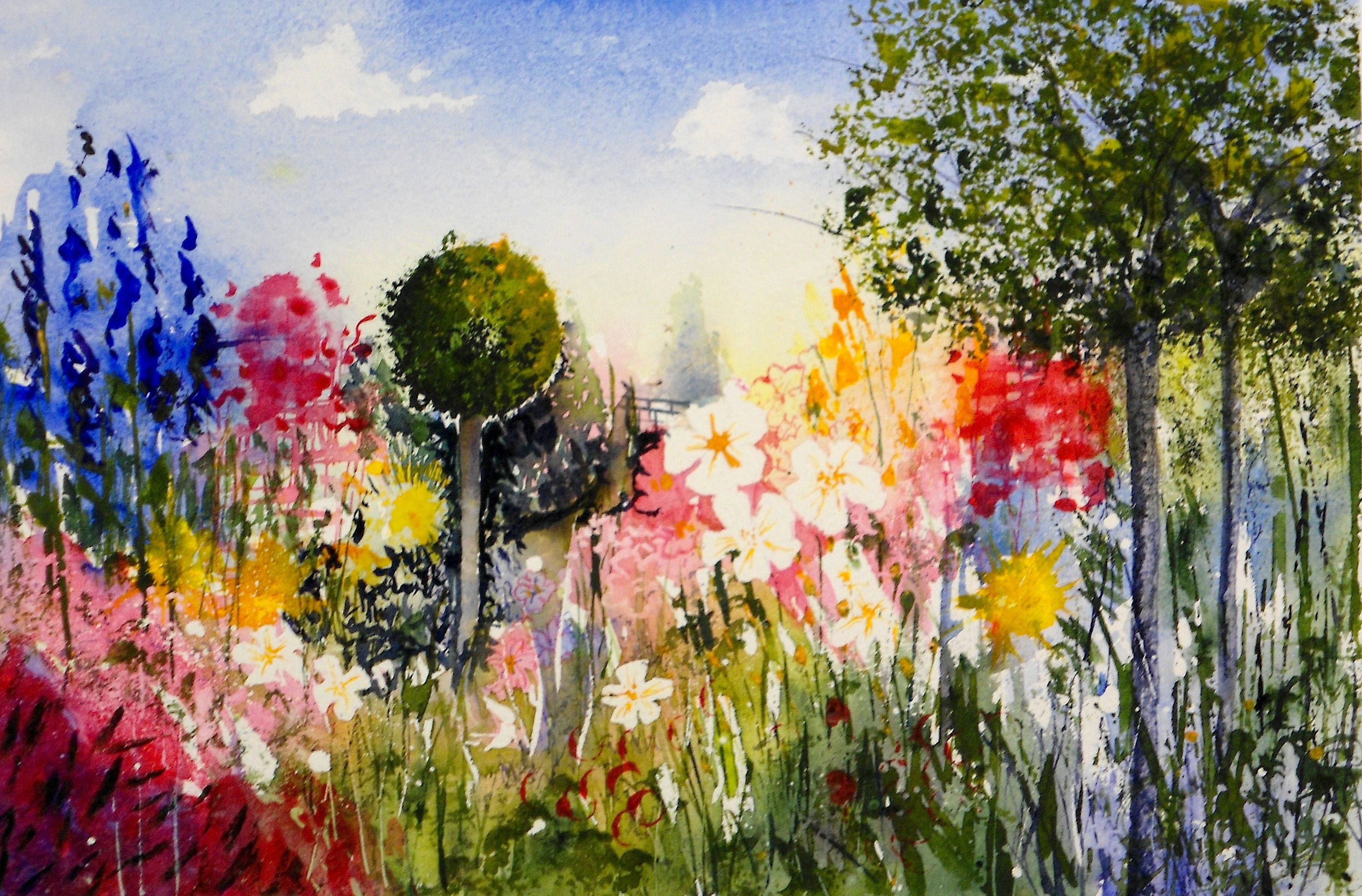 Monet Vase Of Flowers Of Stock Of Flower Garden Paintings Wall Art Design within Flower Garden Paintings Photograph Wild Flower Garden Video Lesson On Using Various Painting tools by Of