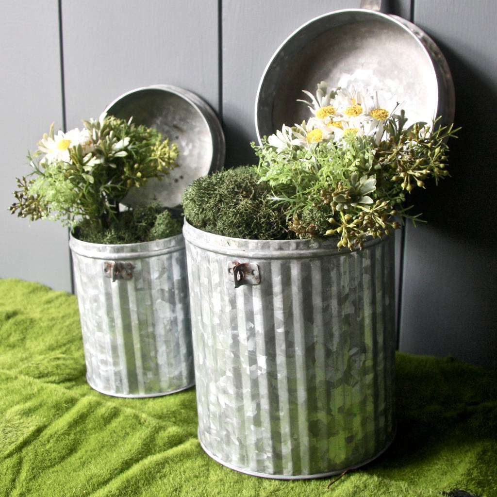 moss vase filler of pair of zinc dustbin planters by london garden trading for pair of zinc dustbin planters