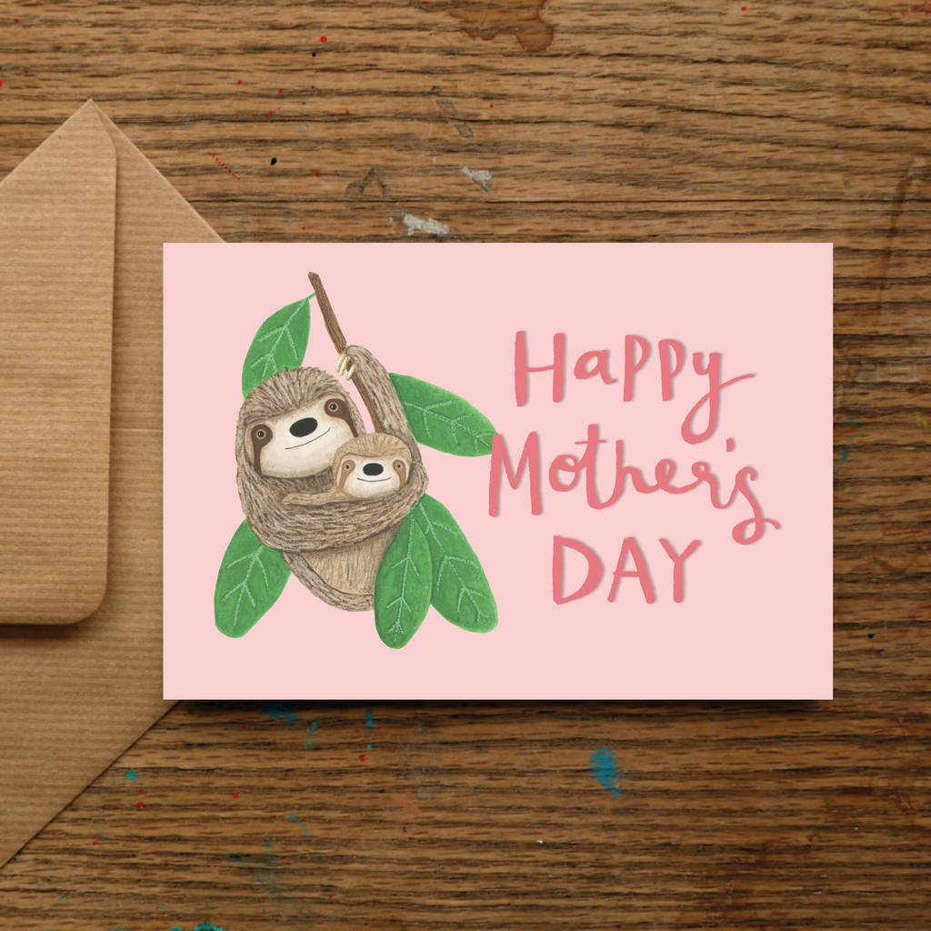 mothers day vase of happy mothers day sloth cuddle card by nic allan with regard to happy mothers day sloth cuddle card