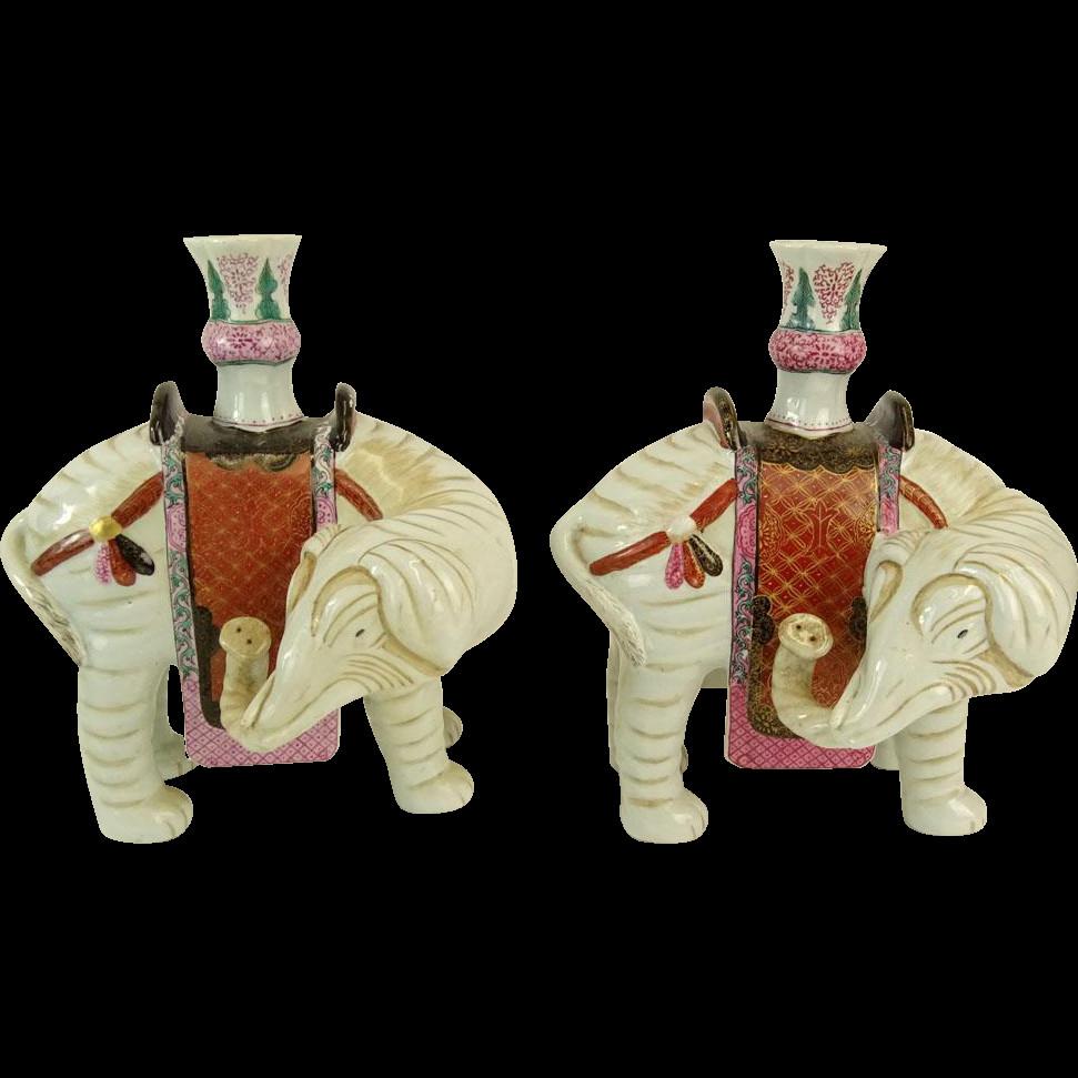 mottahedeh tobacco leaf vase of pair signed vintage chinese style mottahedeh porcelain elephant for pair signed vintage chinese style mottahedeh porcelain elephant vases barkus farm antiques collectibles and fine art ruby lane