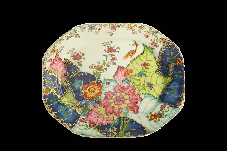 Mottahedeh tobacco Leaf Vase Of tobacco Leaf Octagonal Platter 15 In Y2341a