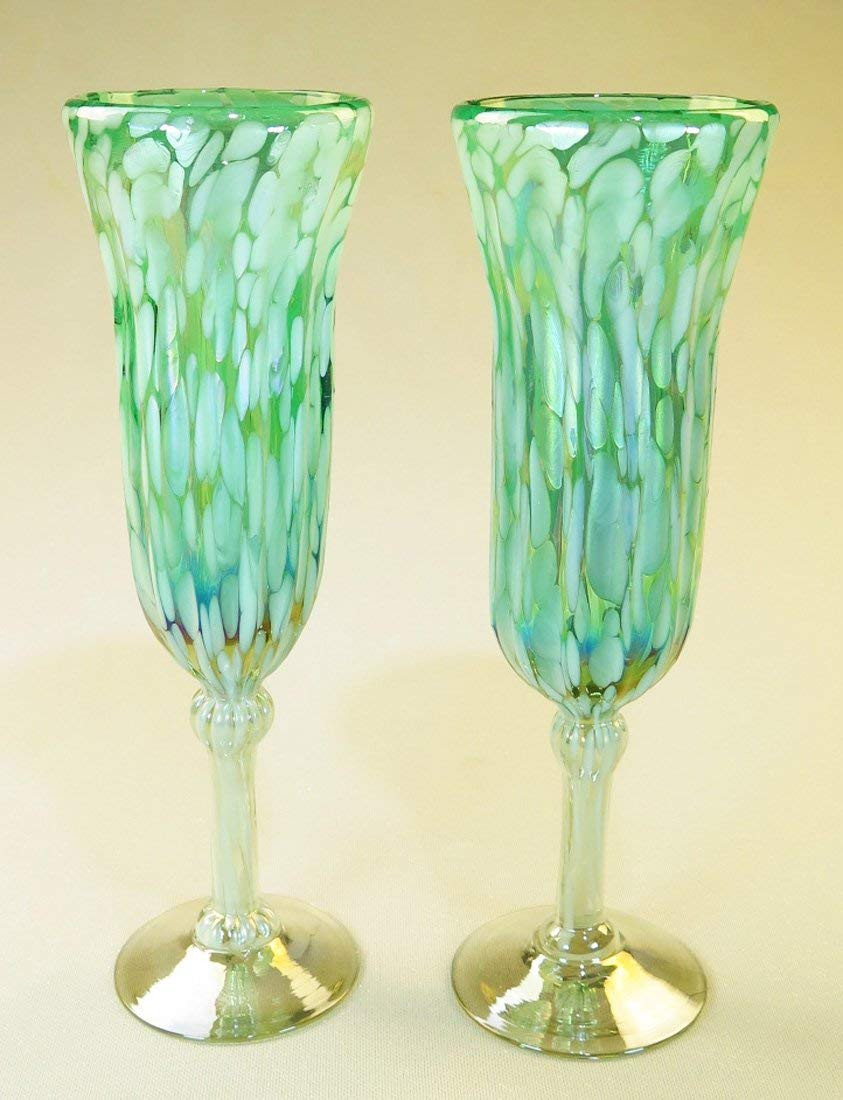 multi colored glass vases of amazon com champagne flutes hand blown turquoise white confetti with amazon com champagne flutes hand blown turquoise white confetti 9 oz set of 2 champagne glasses
