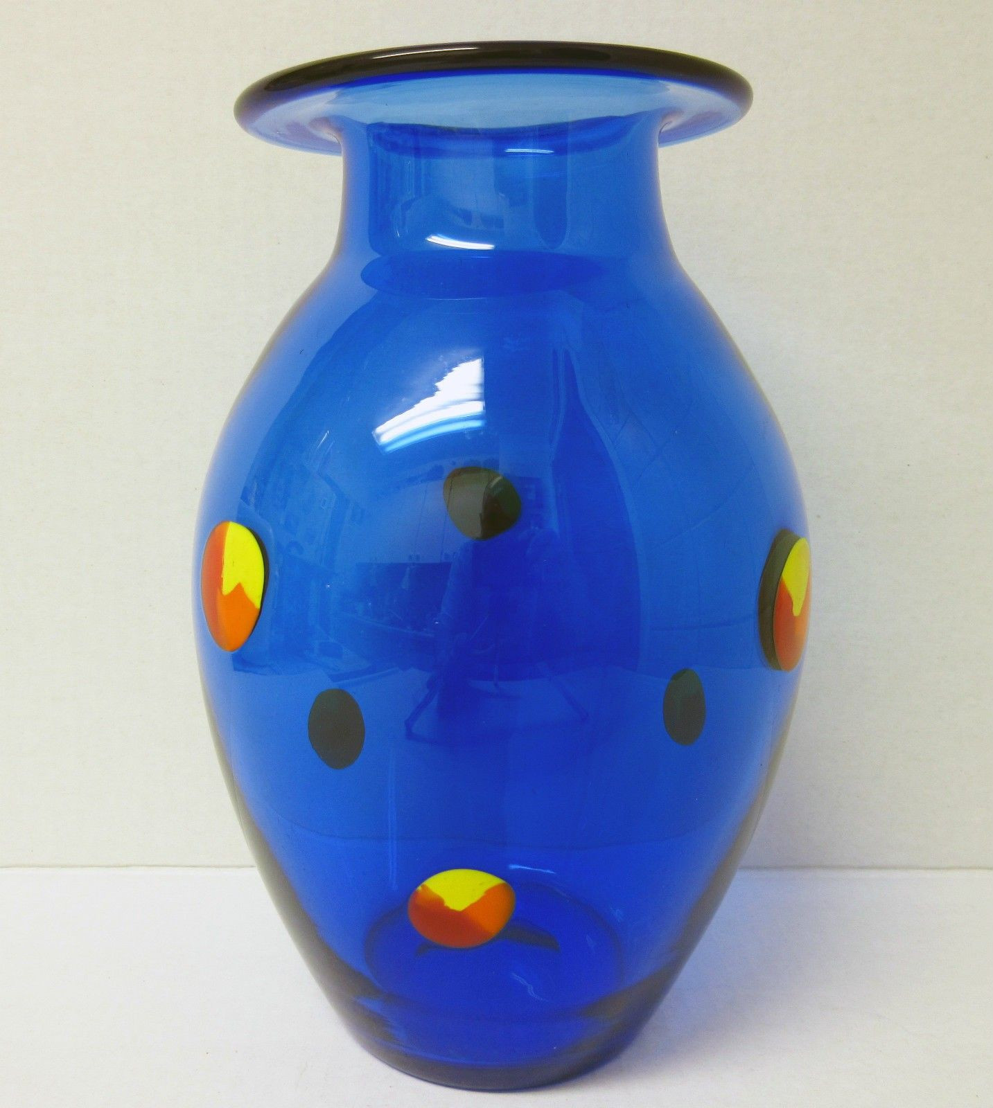 multi colored glass vases of cobalt blue with multi color prunts orrefors sweden art glass vase with cobalt blue with multi color prunts orrefors sweden art glass vase measures approximately 8 1 2″ x 5″ sand blasted etched signature on the base