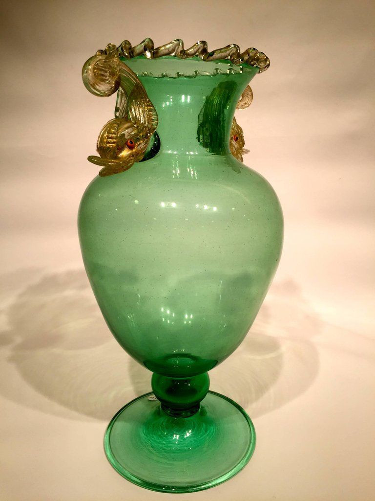 Murano Blown Glass Vase Of Salviati Murano Glass Dolphins Green and Gold Vase Circa 1940 for Salviati Murano Glass Dolphins Green and Gold Vase Circa 1940